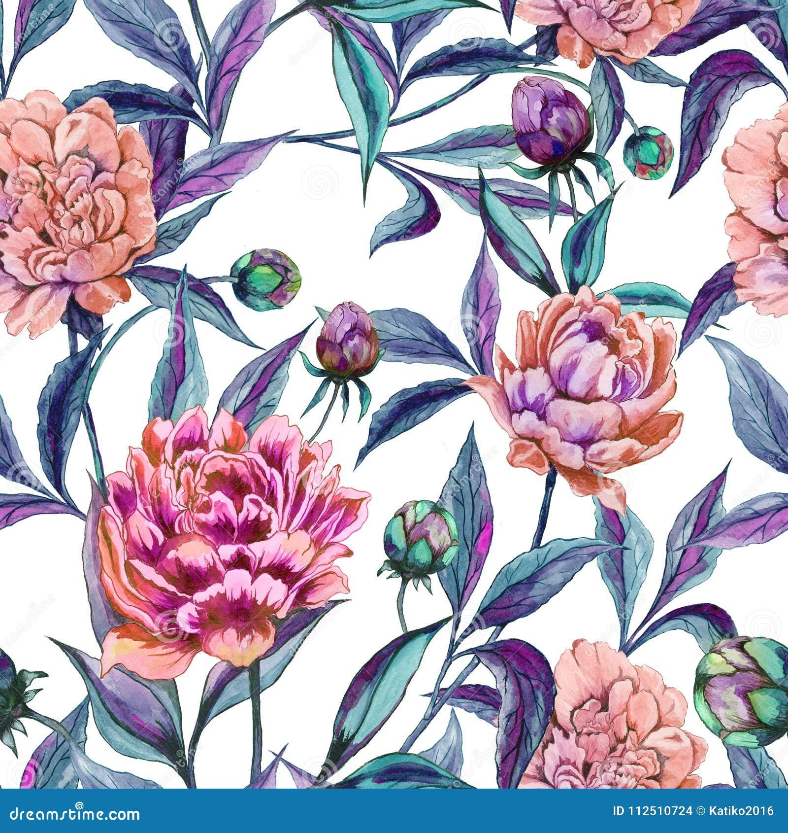 美丽的五颜六色的牡丹开花与在白色背景的绿色和紫色叶子 无缝花卉的模式 多孔黏土更正高绘画photoshop非常质量扫描水彩