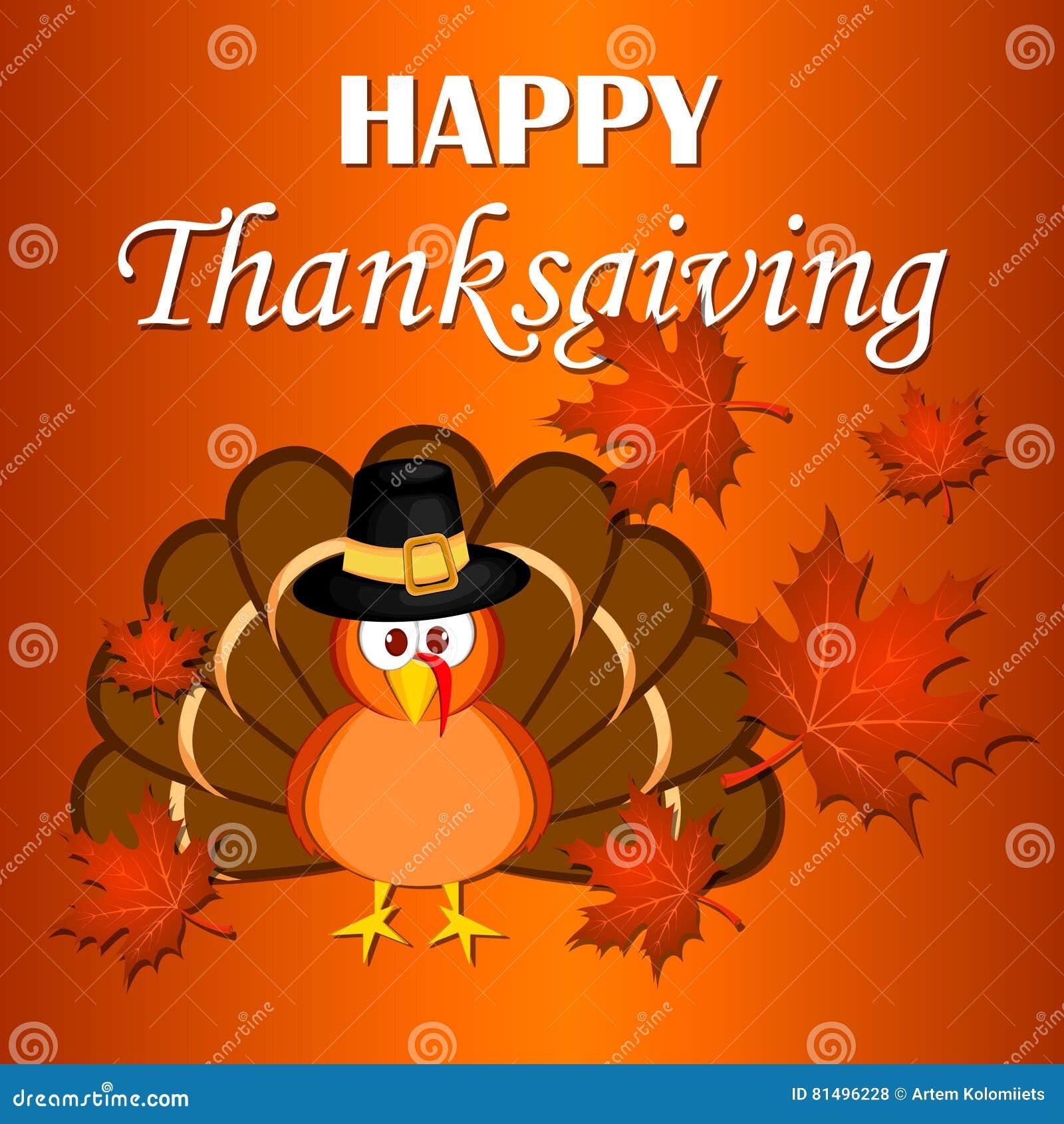 美丽的动画片土耳其鸟 庆祝愉快的感恩 橙色背景