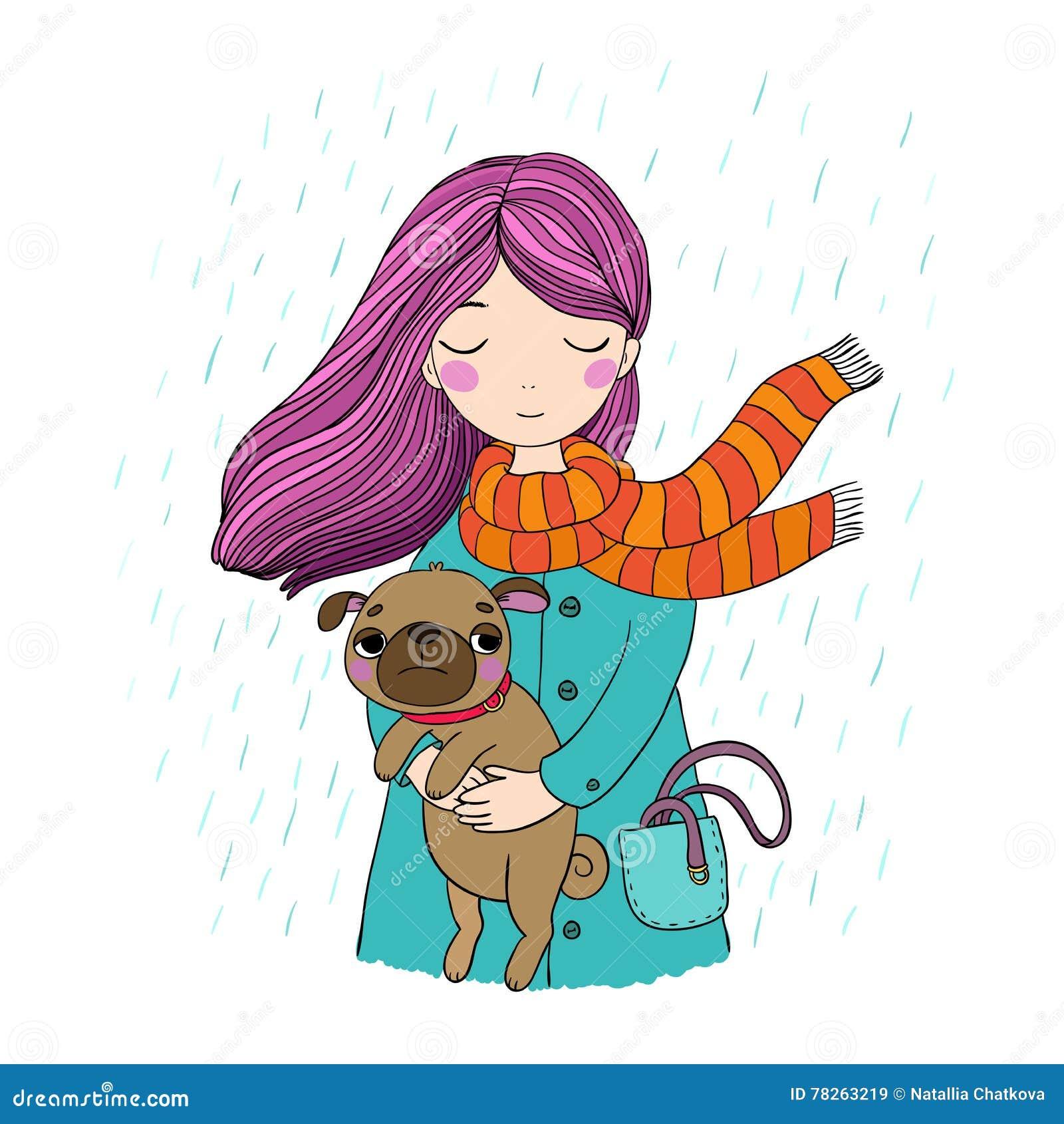 美丽的动画片女孩和哈巴狗