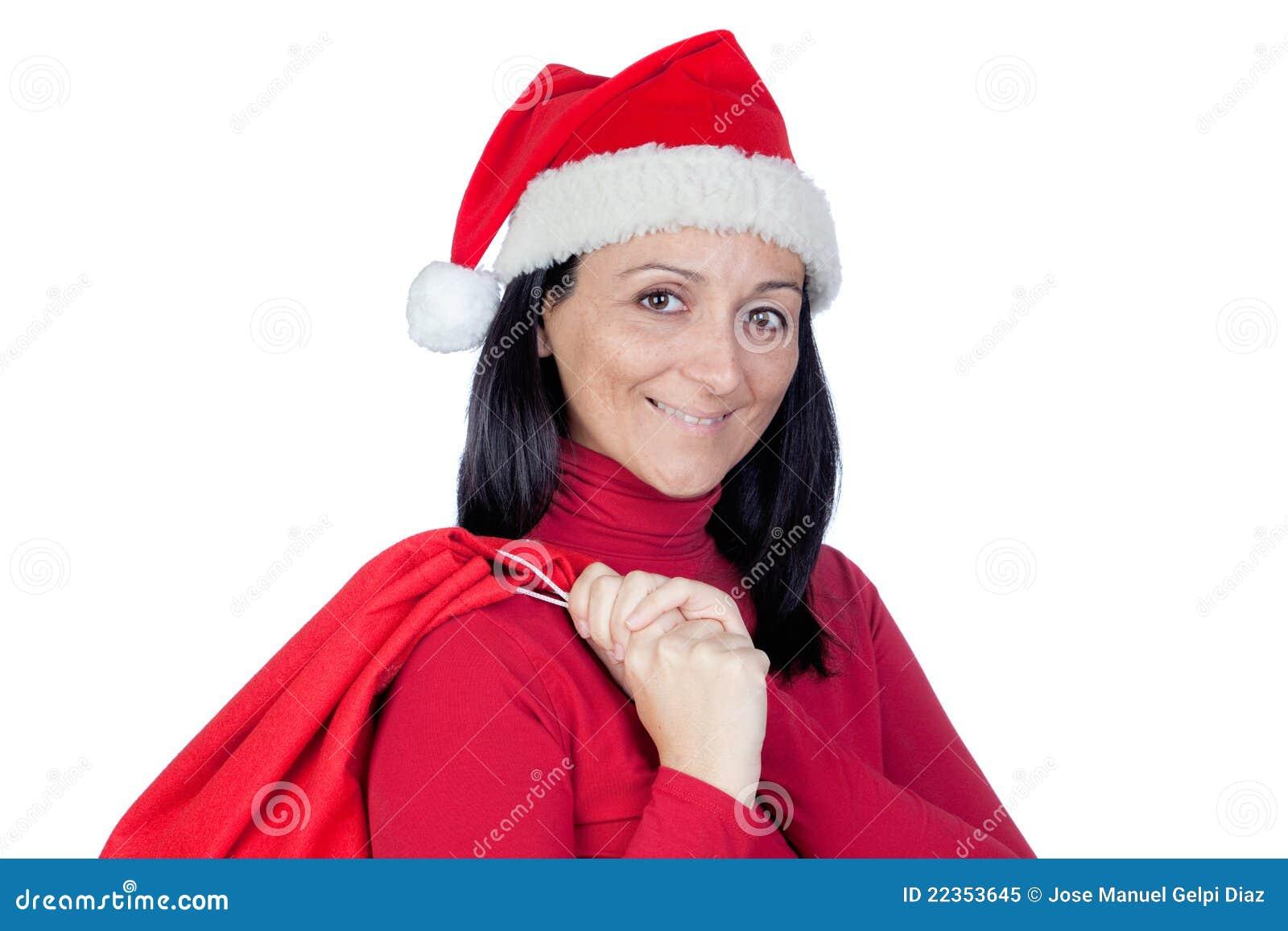 美丽的圣诞节女孩大袋