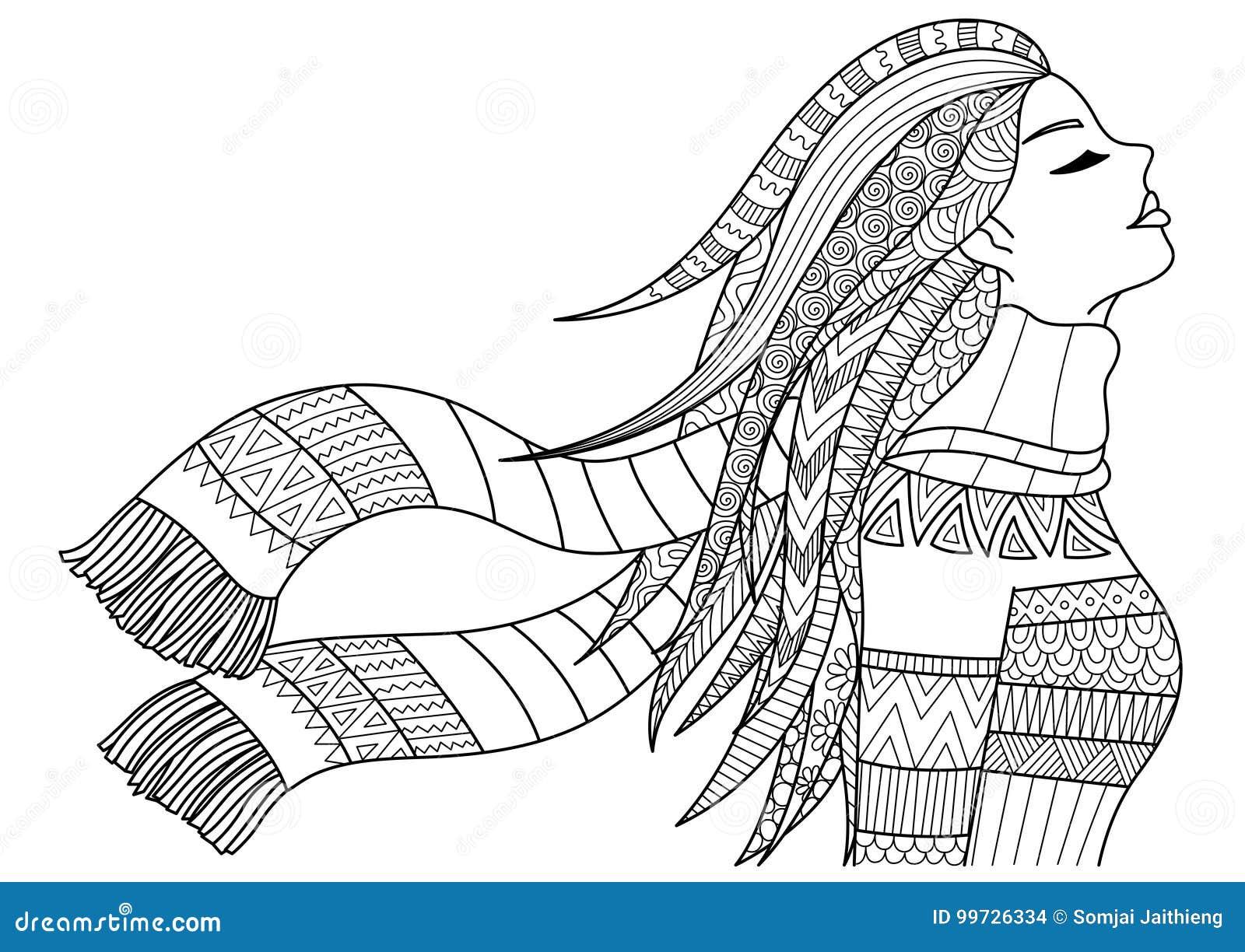 美丽的女孩佩带的外套和围巾在横幅、成人彩图页,海报和其他的冬天设计元素 储蓄传染媒介