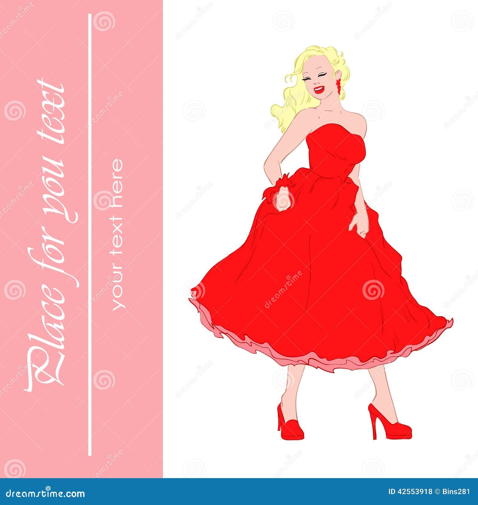 美好的礼服女孩红色.图片