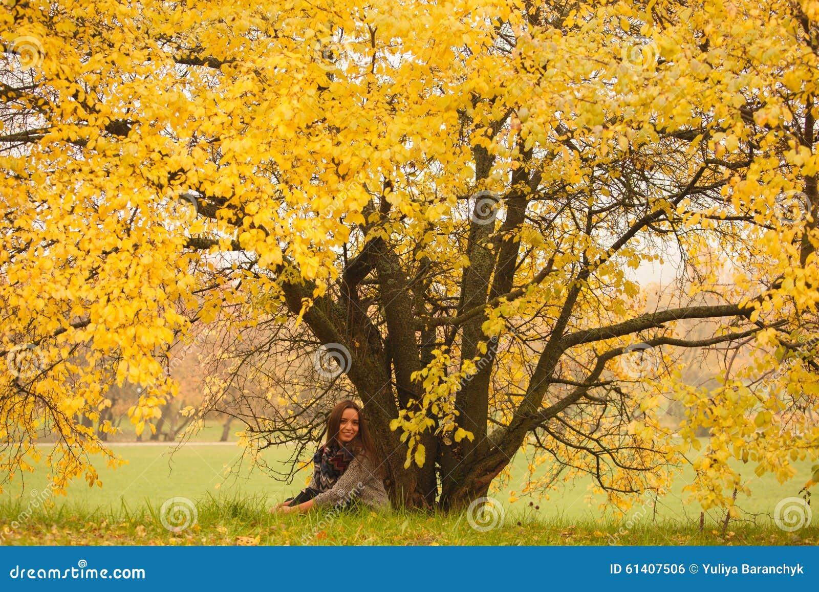 美丽的妇女有休息在巨大的秋天黄色树下 孤独的妇女在秋天的享受自然风景 秋天日 女孩坐