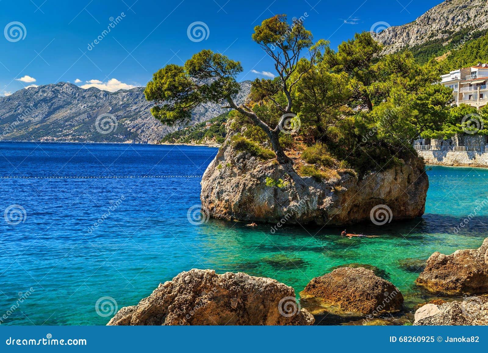 美丽的岩石海岛, Brela,马卡尔斯卡里维埃拉,达尔马提亚,克罗地亚,欧洲