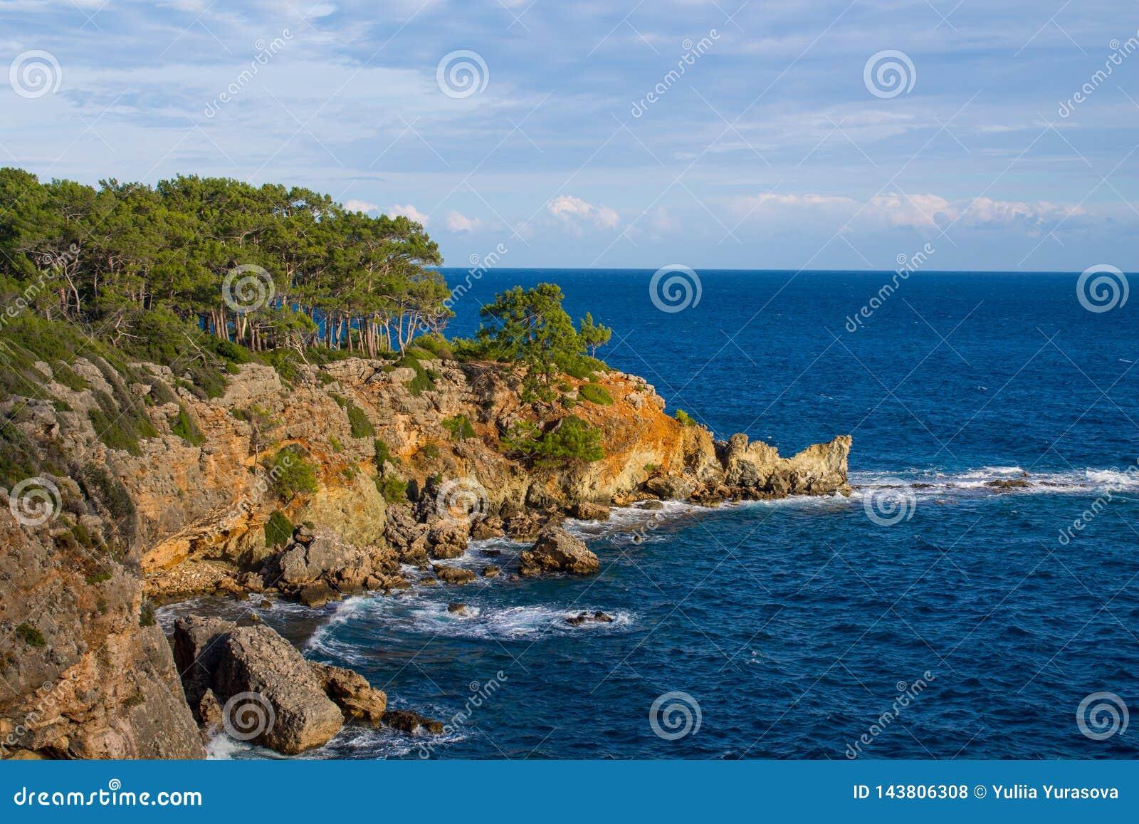美丽的岩石陡峭的海岸和大波浪