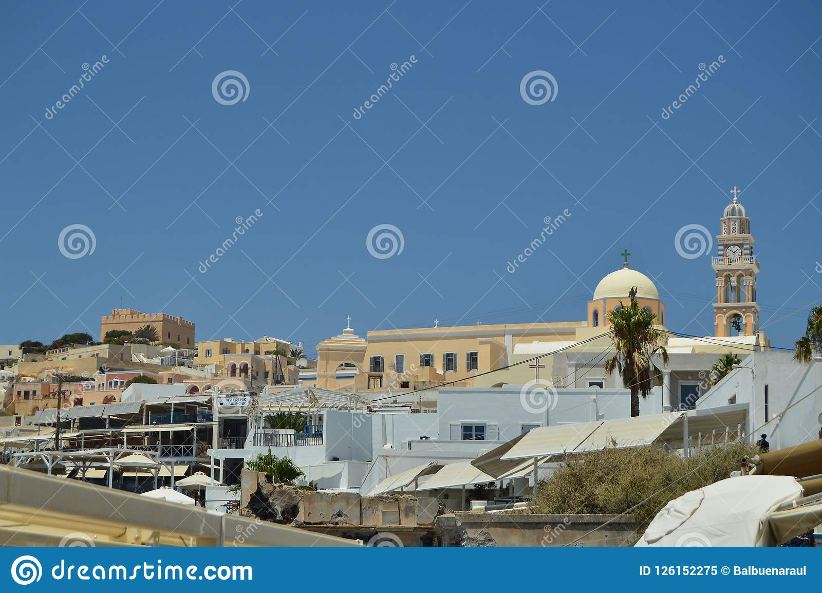 美丽的市的美好的地平线视图圣托里尼逃出克隆岛的Fira  建筑学,风景,旅行,巡航 J