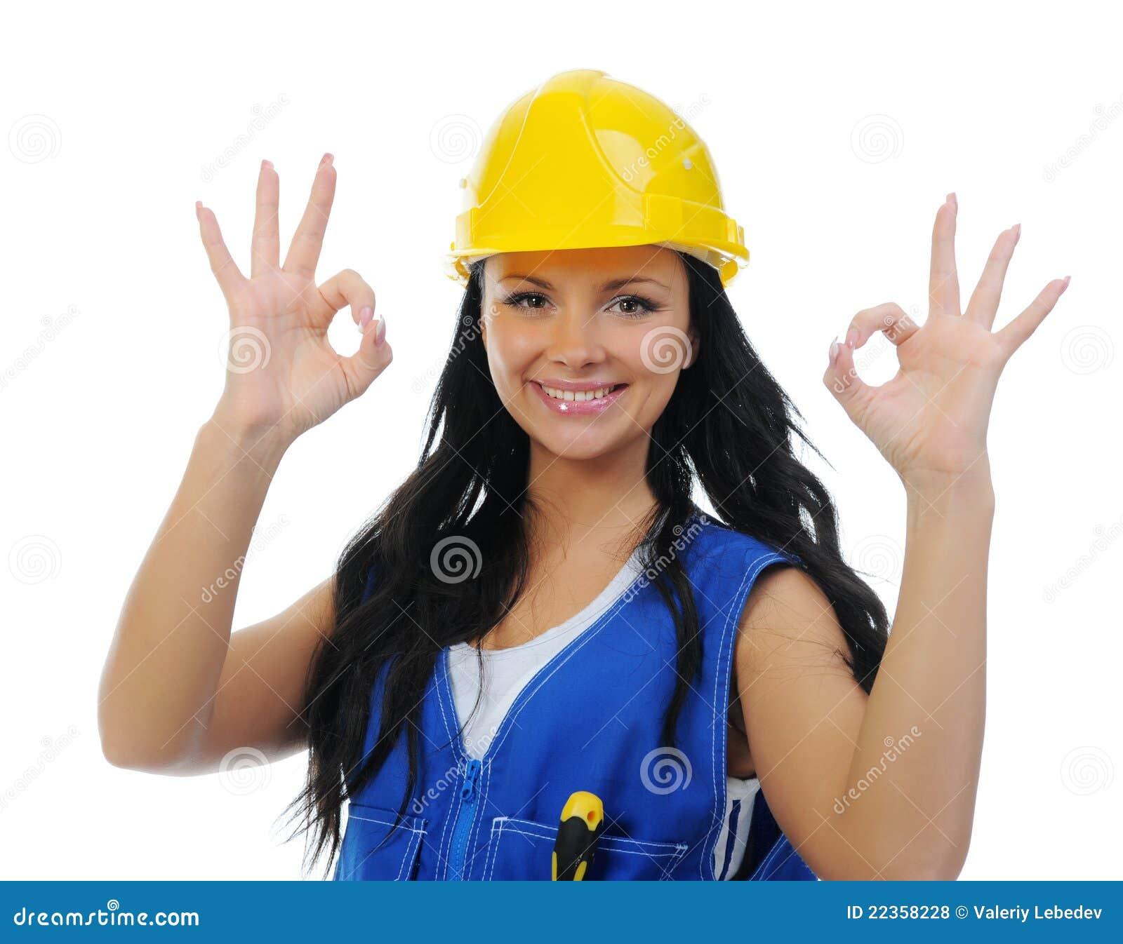 美丽的执行的维修服务妇女年轻人