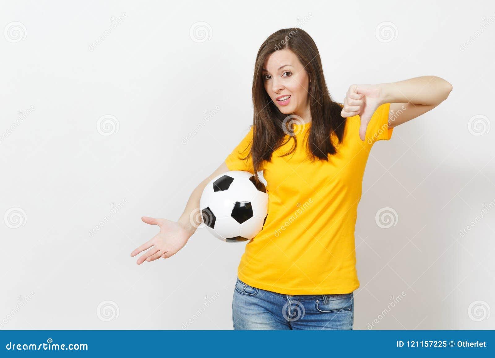 美丽的欧洲青年人、足球迷或者球员白色背景的 体育,戏剧,健康,健康生活方式概念