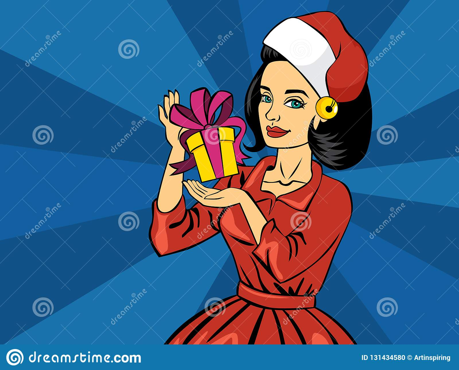 美丽的流行艺术可笑的女孩藏品圣诞礼物箱子