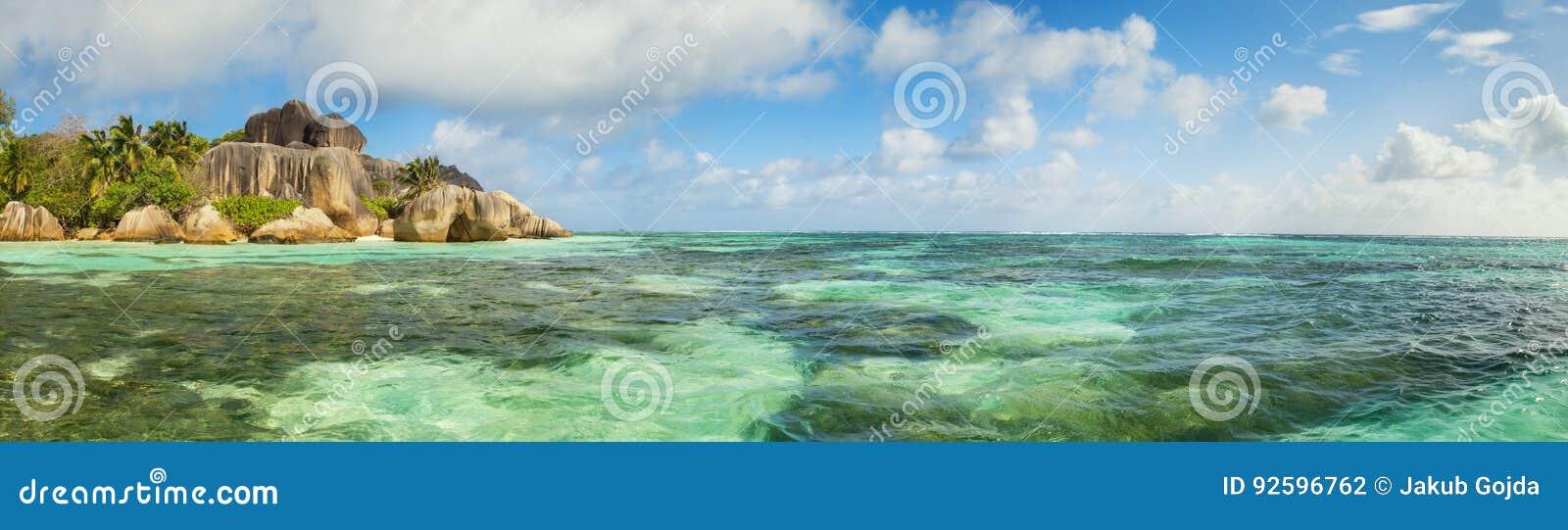 美丽的海滩塞舌尔群岛,海岛拉迪格岛, Anse银来源d的`