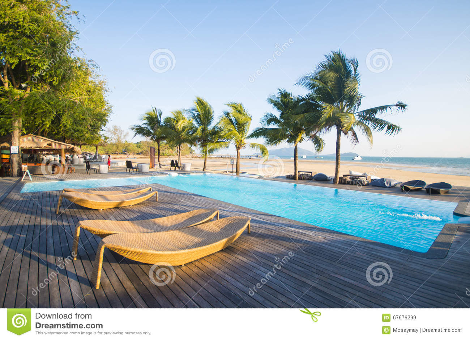 美丽的游泳池有海景