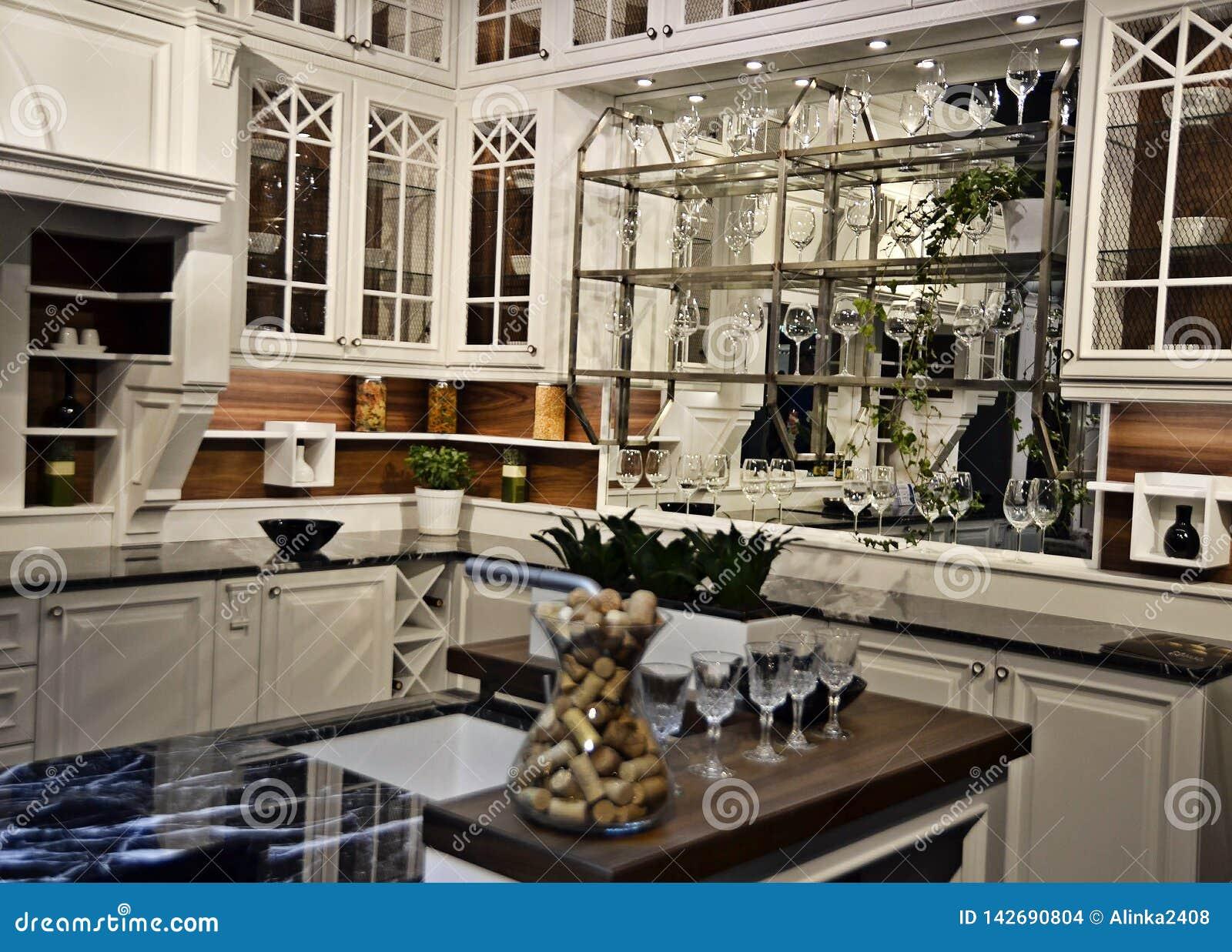 美丽的白色厨房在新的豪华家