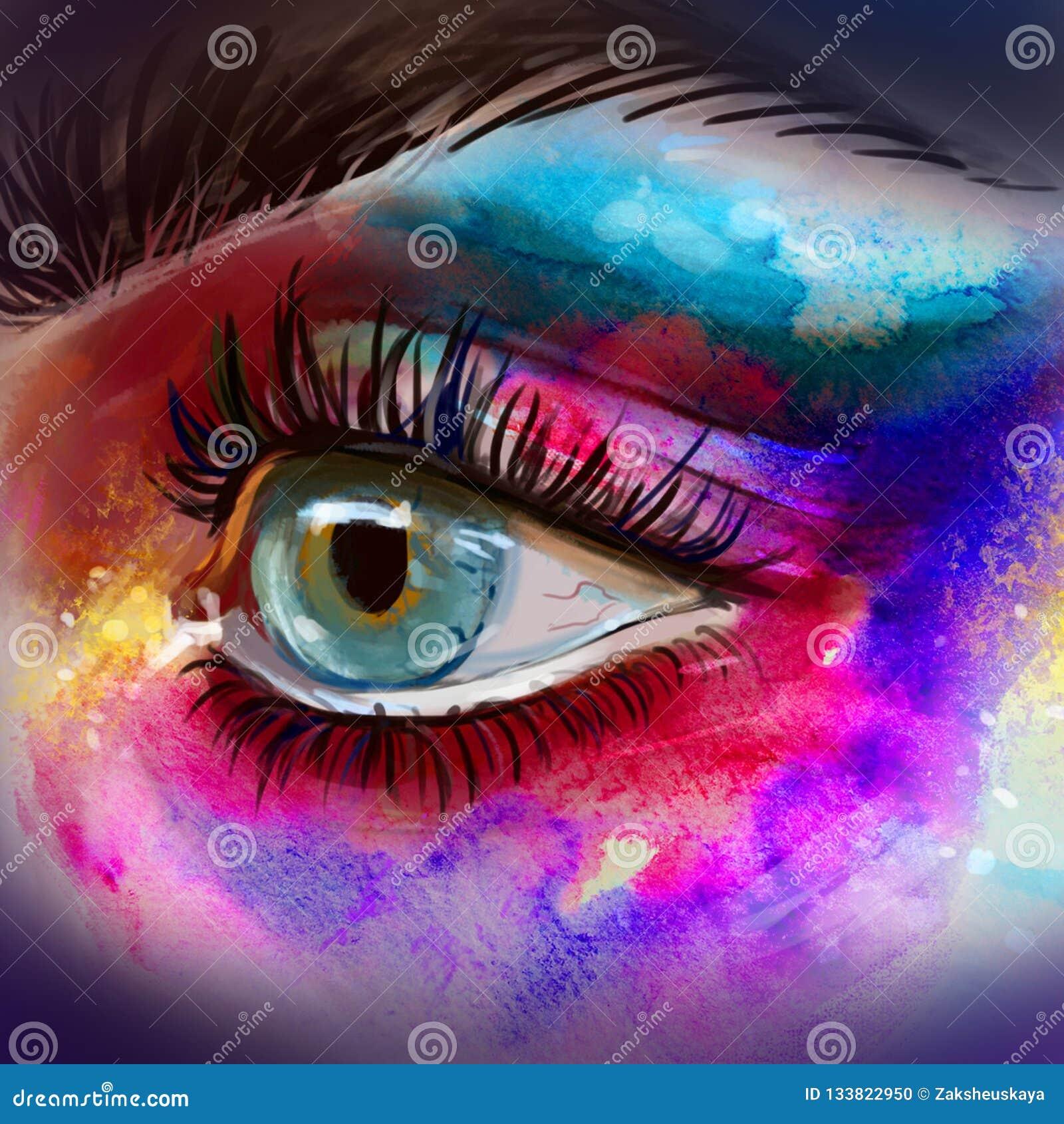 美丽的眼睛组成剪影 与大鞭子的美丽的眼睛 五颜六色的妇女的水彩手拉的例证注视