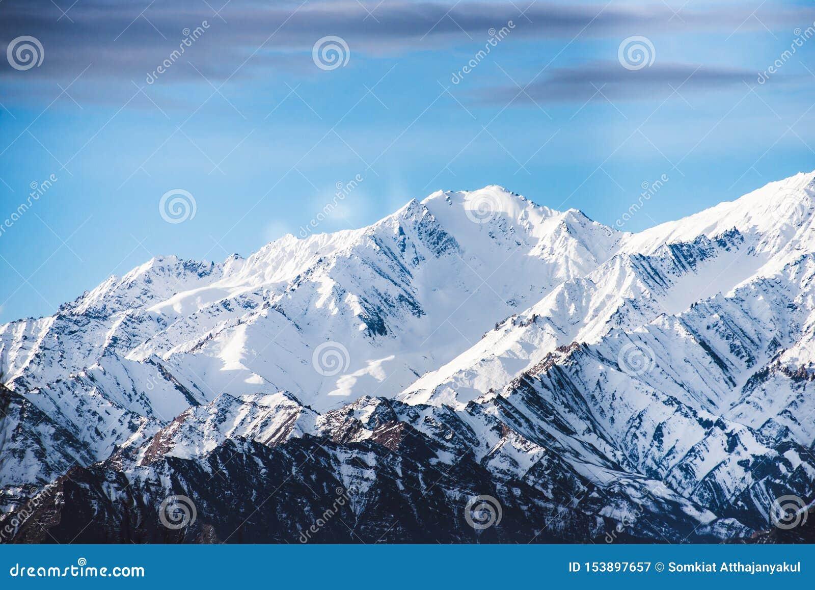 美丽的积雪的山在冬天