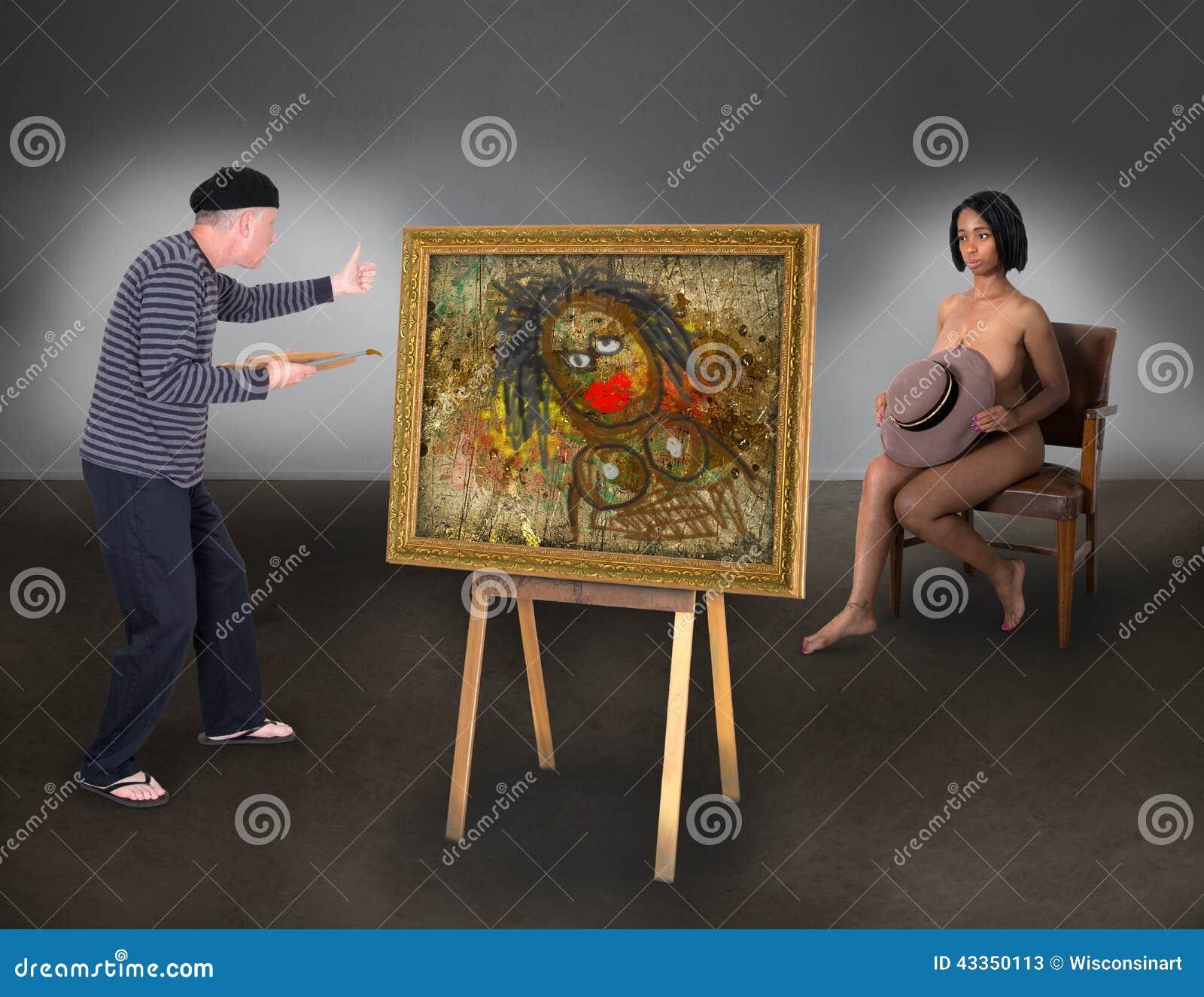 美丽的裸体模特儿妇女滑稽的艺术家画家