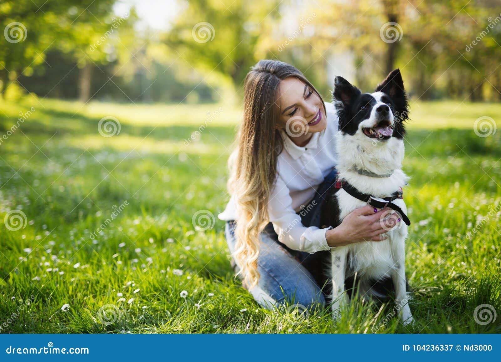 美丽的逗人喜爱的狗本质上为步行采取由人