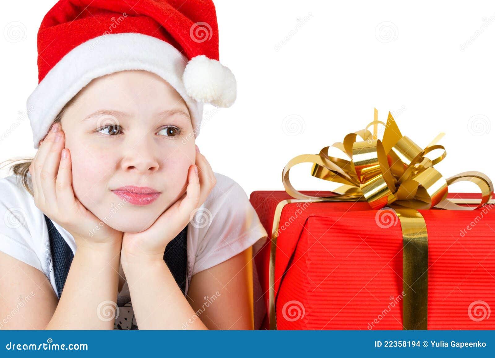 美丽的配件箱礼品女孩少许照片