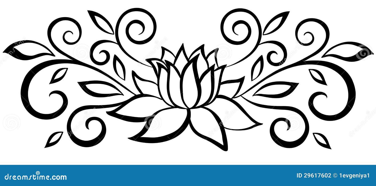 美丽的黑白抽象花。 叶子和华丽。 查出在白色