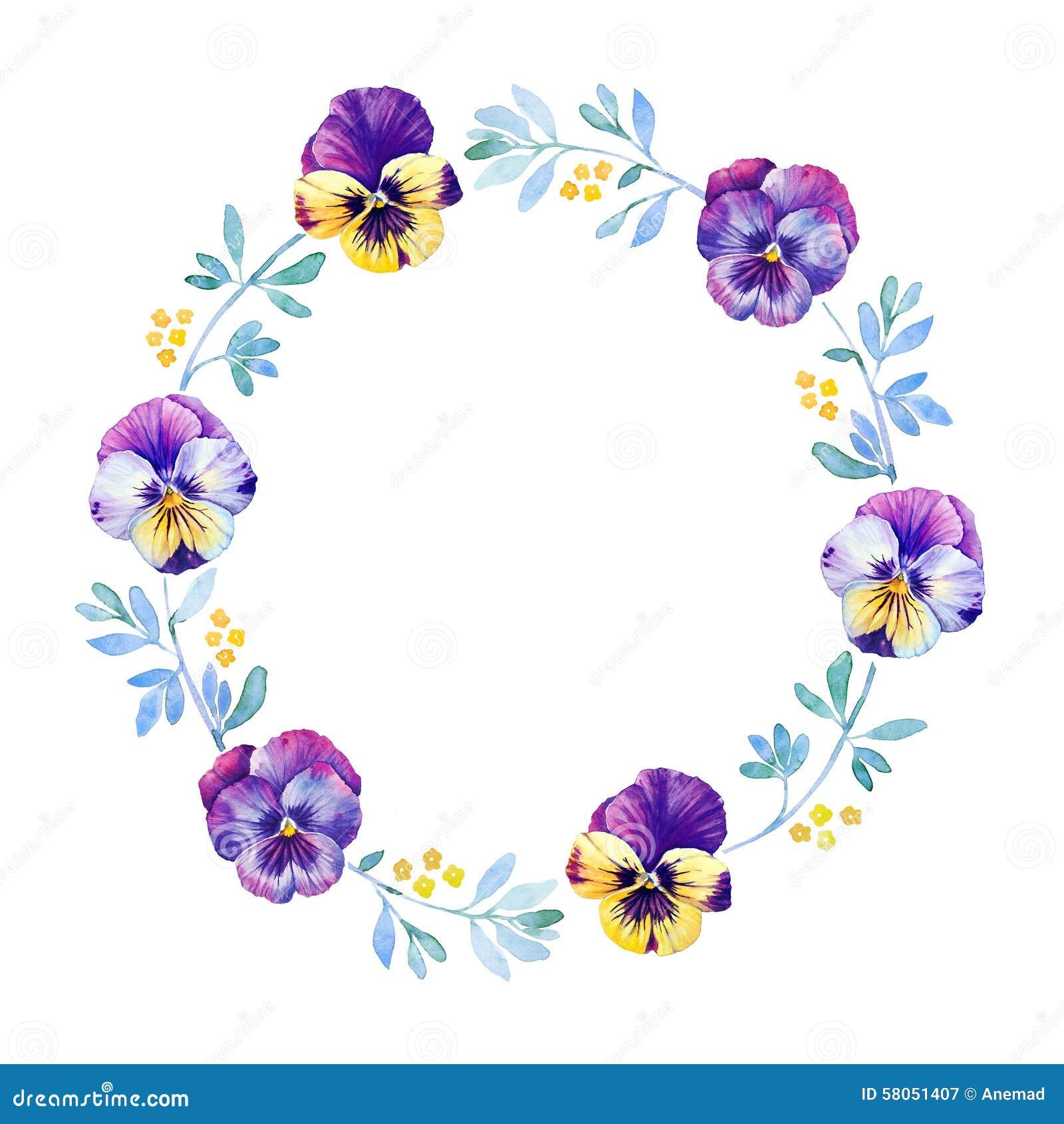 美丽的蝴蝶花花水彩花圈 库存例证 图片 58051407