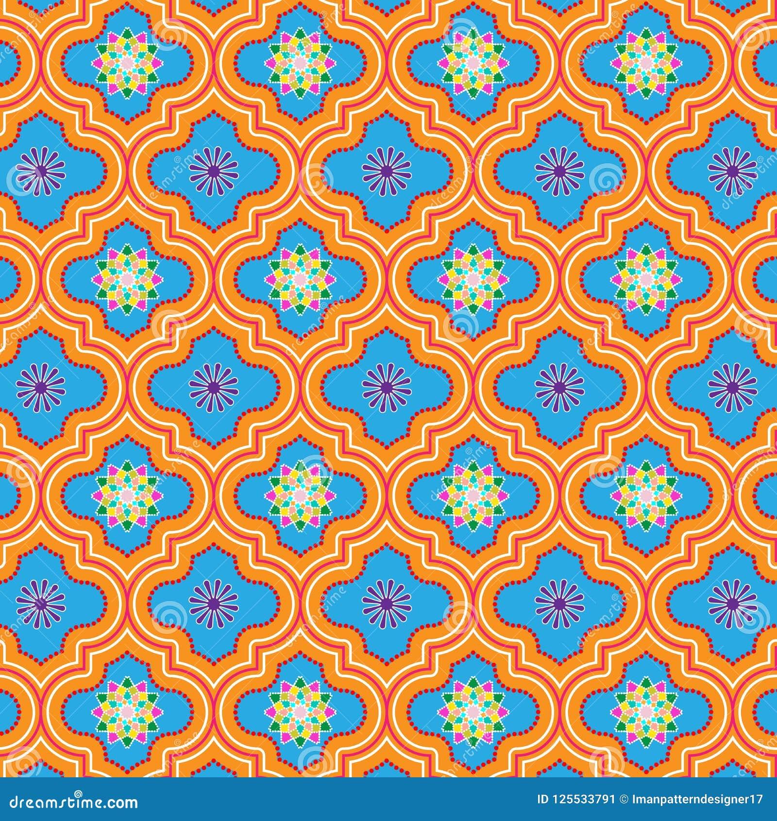 美丽蓝色和桔子装饰了与五颜六色的花卉设计的摩洛哥无缝的样式