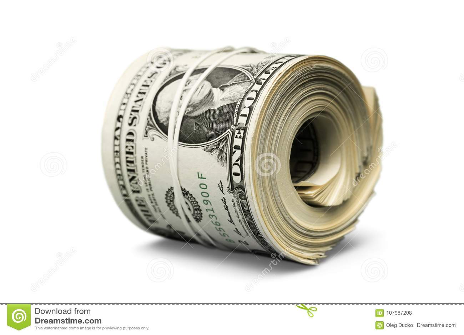 美元卷加强与带 cutout money rolled