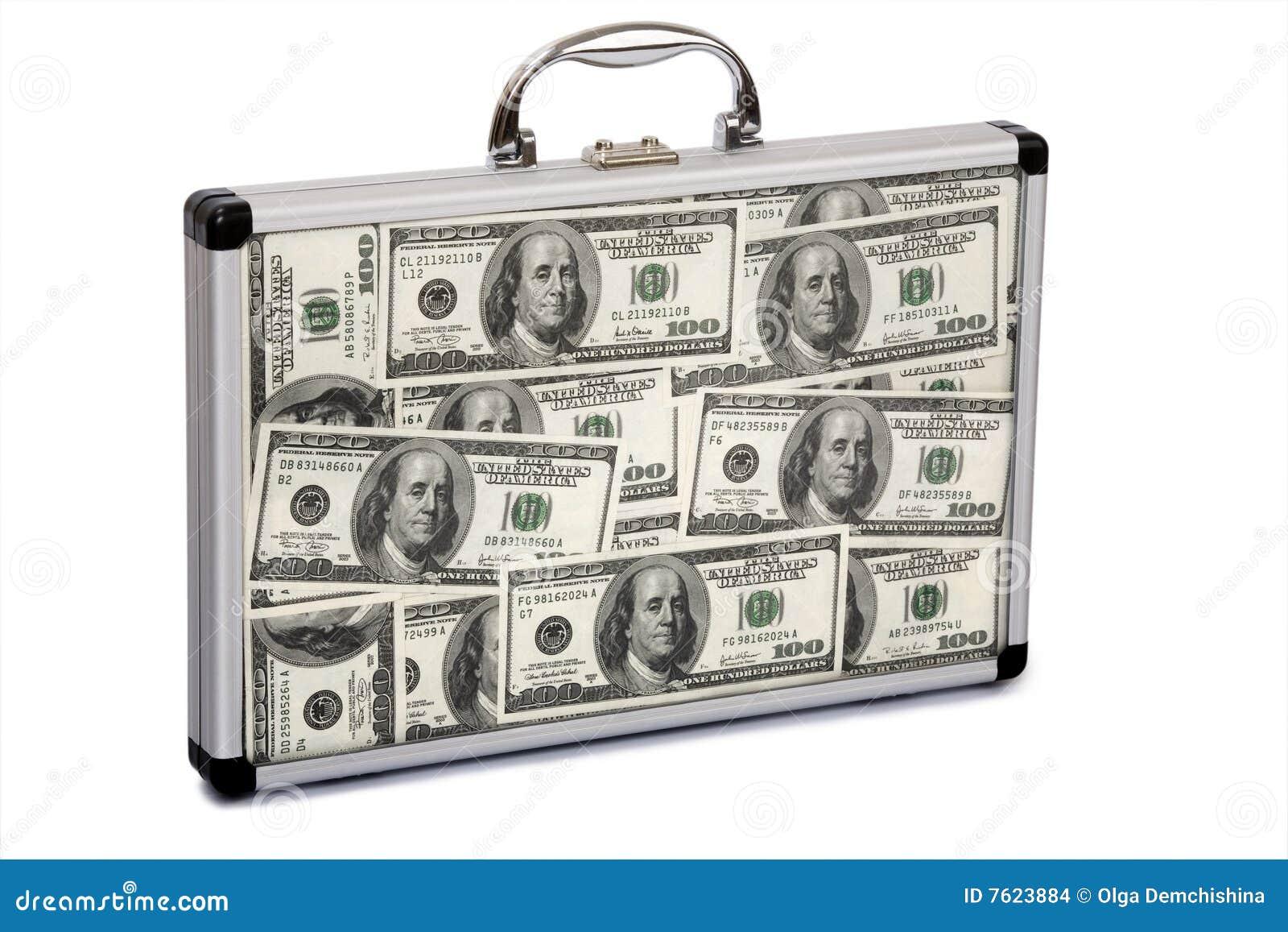 美元装载了手提箱