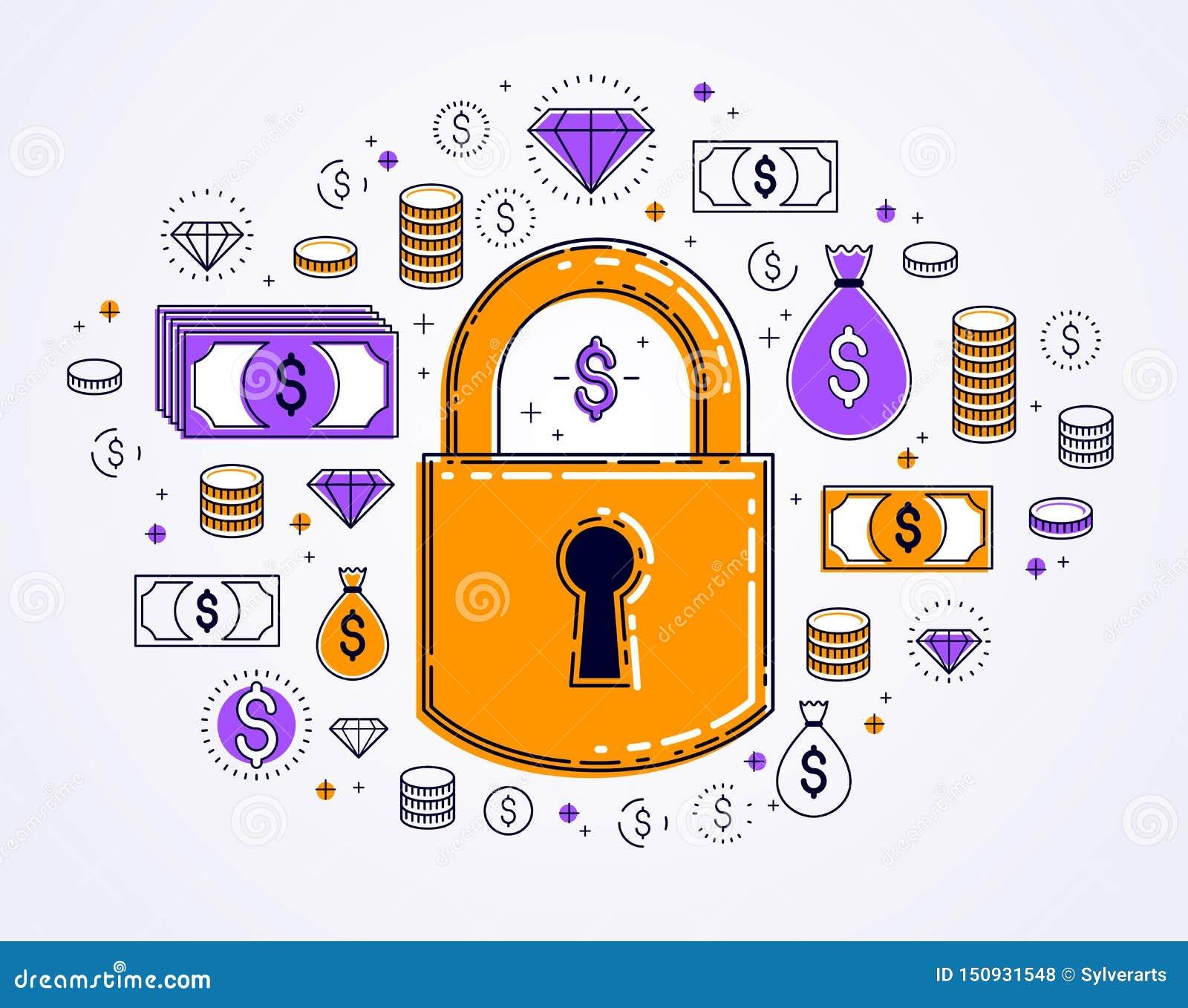 美元金钱象集合围拢的挂锁锁,电子货币保护概念,储款保险,安全事务,个人