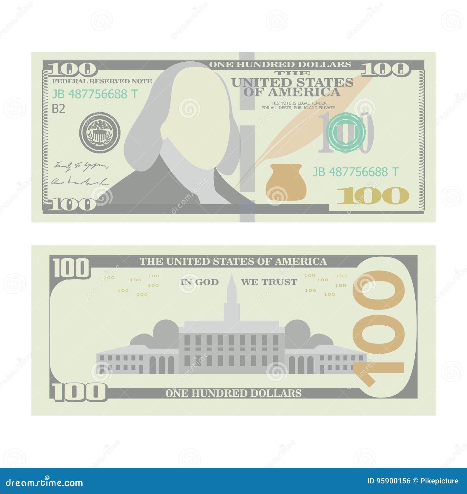 100美元钞票传染媒介 动画片美国urrency 一百个美国人金融法案被隔绝的例证的双方