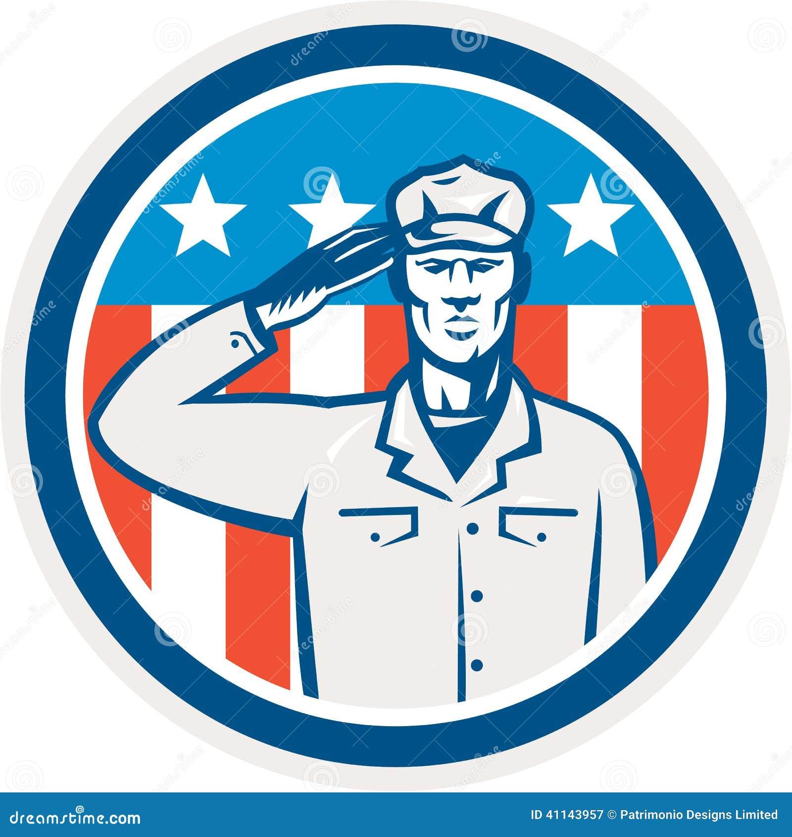 美军士兵致敬减速火箭旗子的圈子