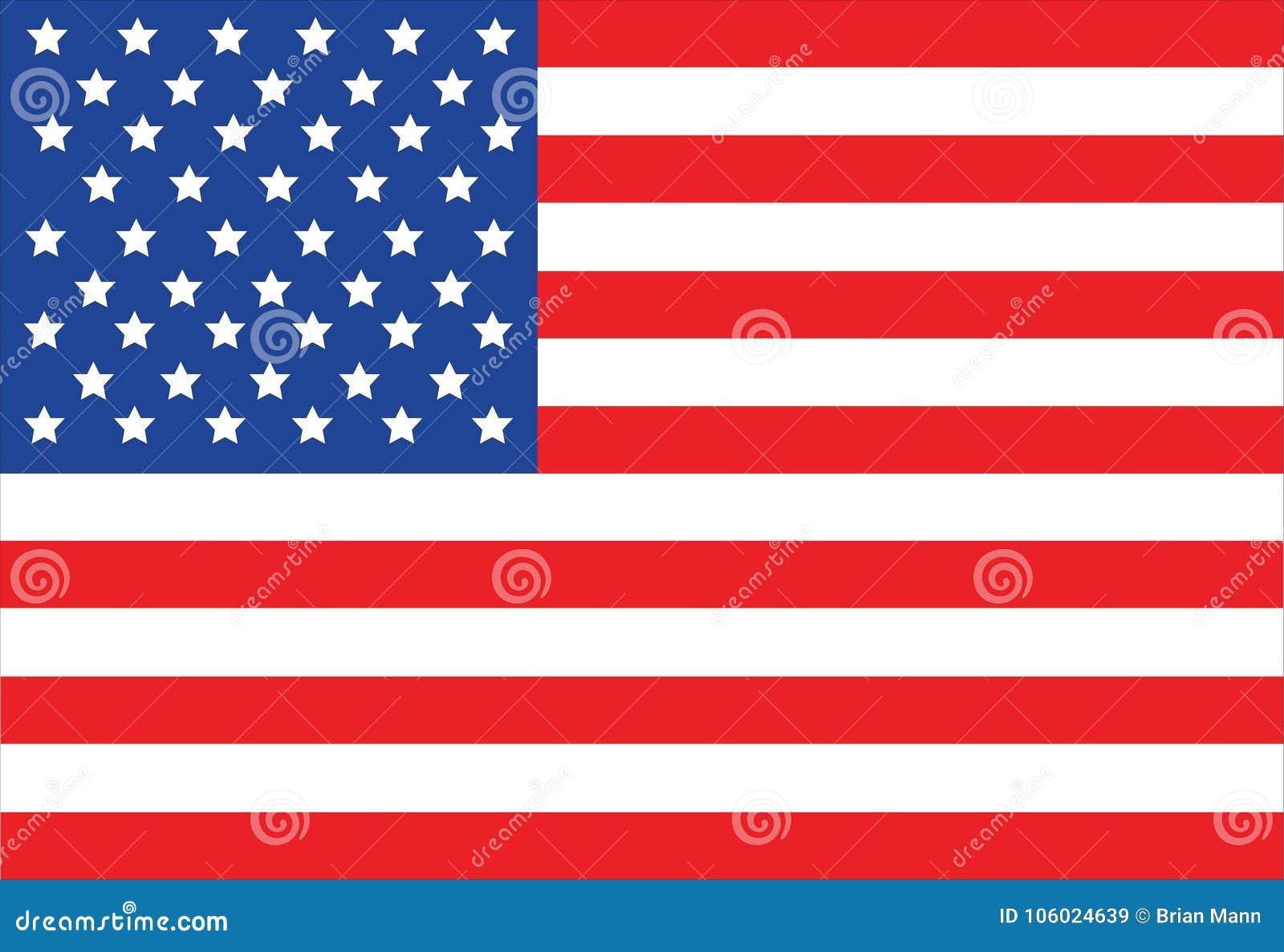 美利坚合众国旗子在白色背景的传染媒介例证
