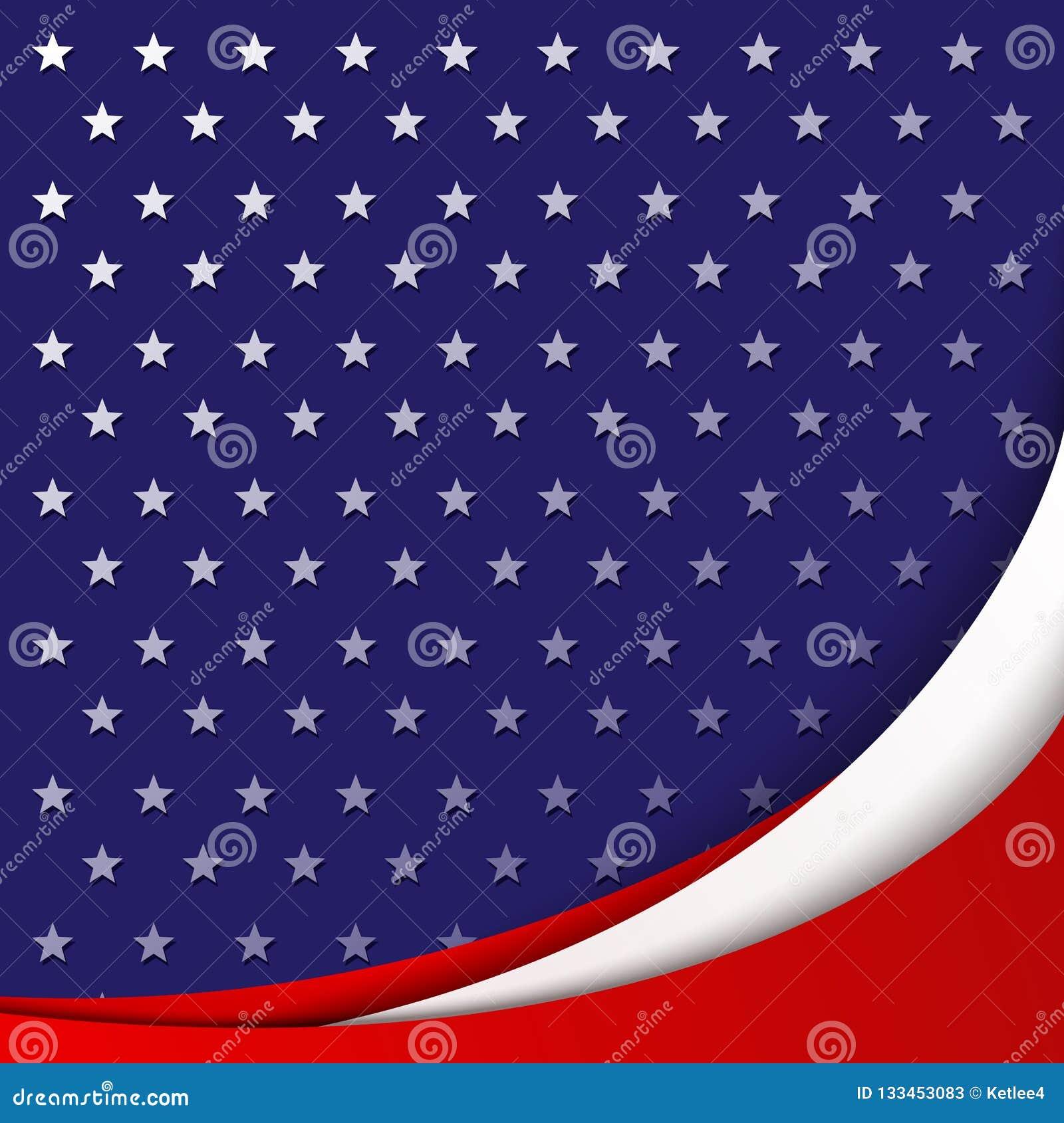 美国光滑的抽象波浪线国旗的颜色爱国背景在星的样式的背景的