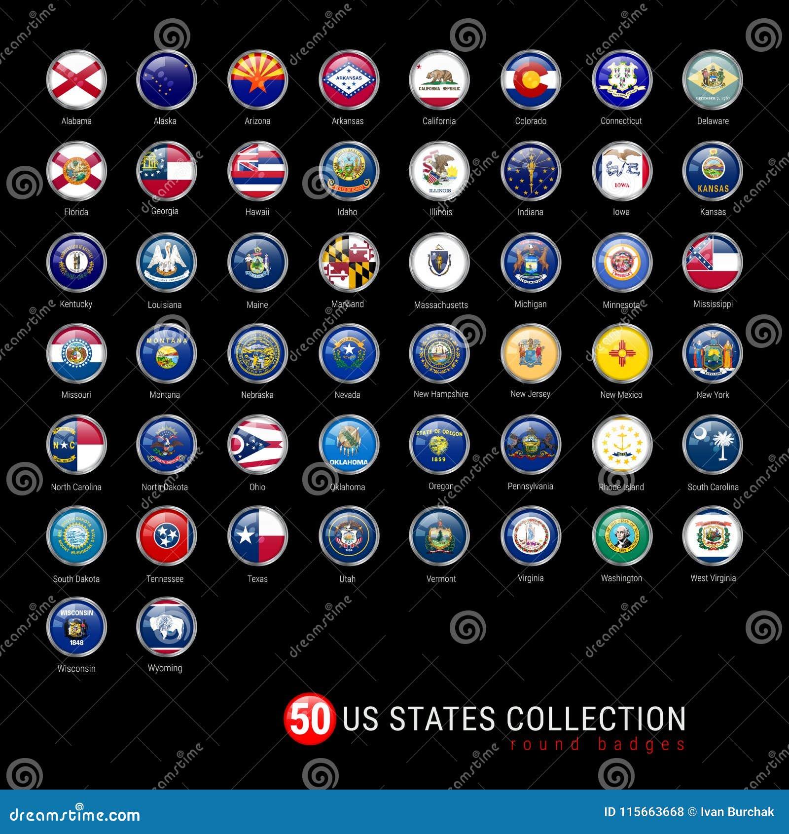 美国各州旗子圆的徽章 美国各州的全部50面旗子在一个唯一传染媒介文件的 现实3D光滑的按钮