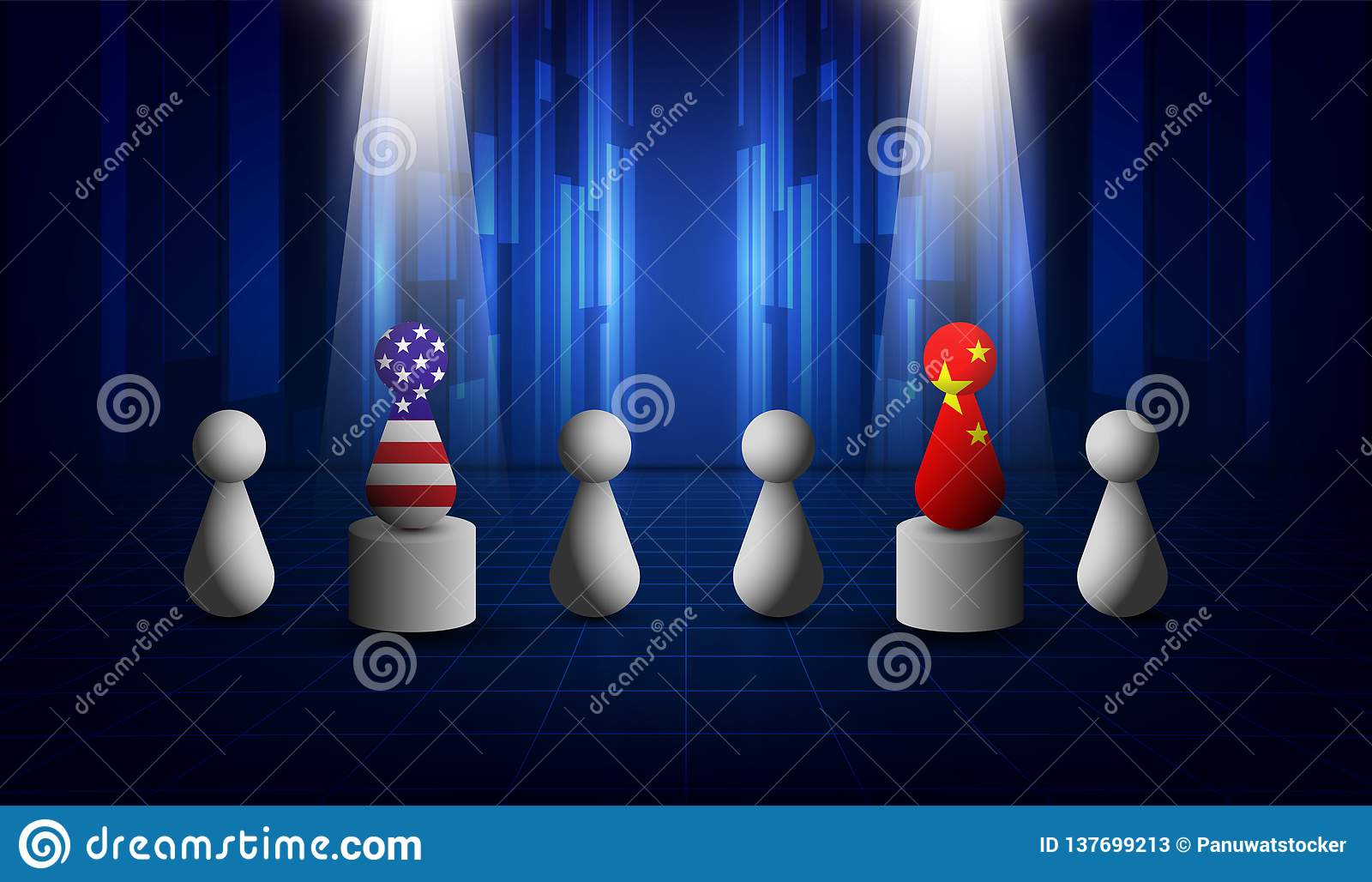 美国和中国贸易关系,合作战略 美国美国和中国旗子 也corel凹道例证向量