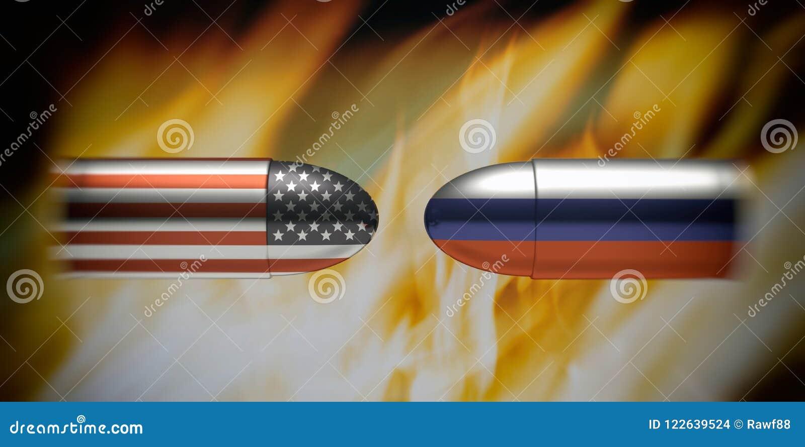 美国和俄罗斯冲突概念 在子弹,火的俄国和美国国旗发火焰背景