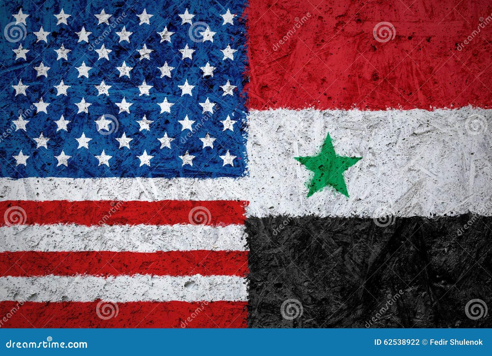 美国和叙利亚旗子