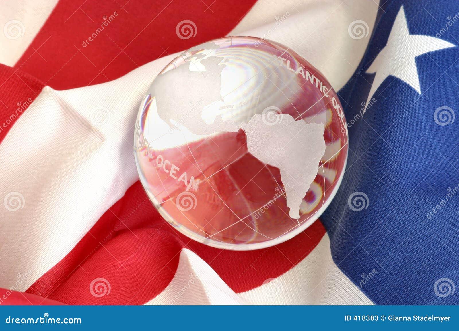 美国国旗玻璃地球