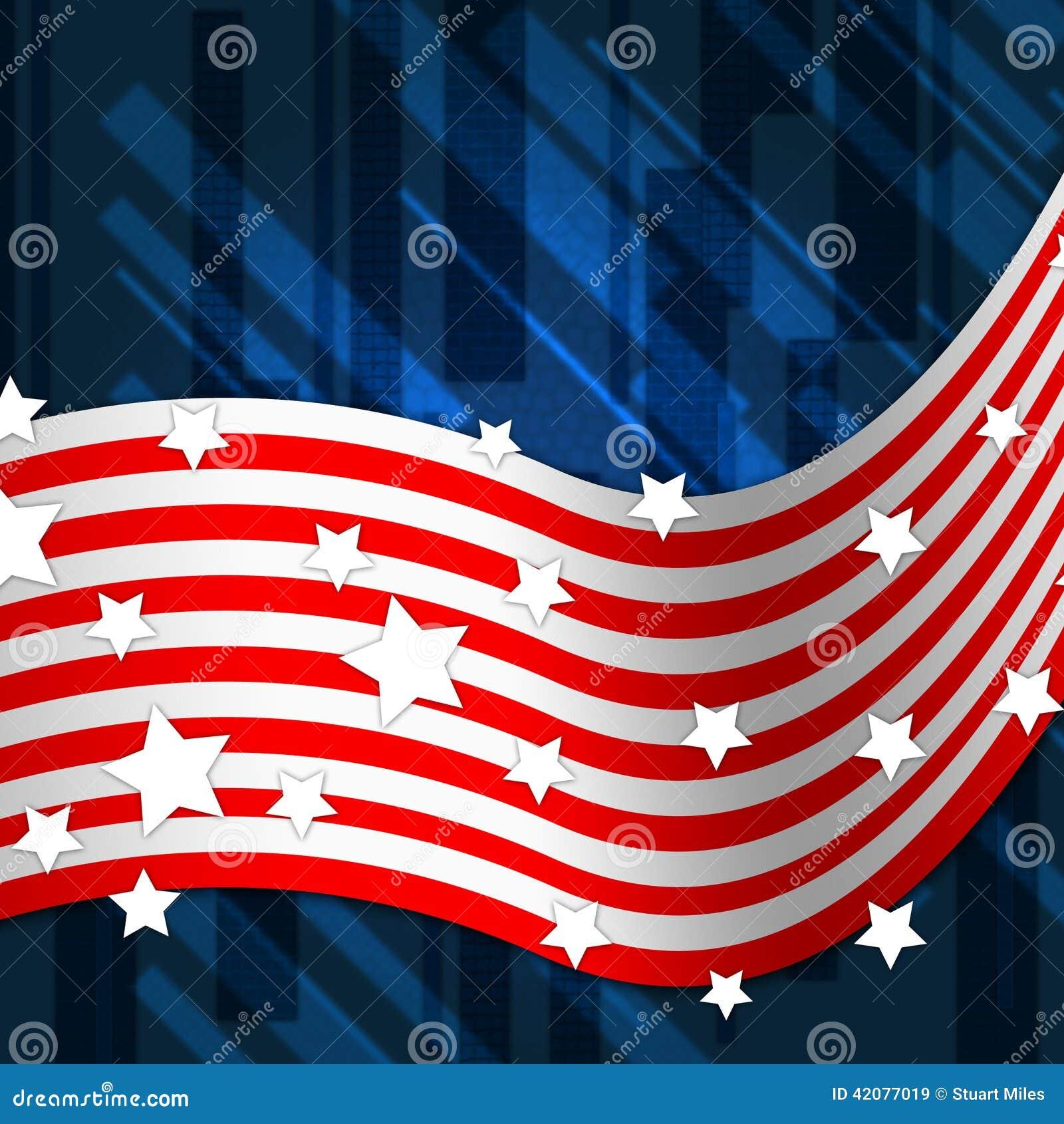 美国国旗背景显示民族自尊心和身分