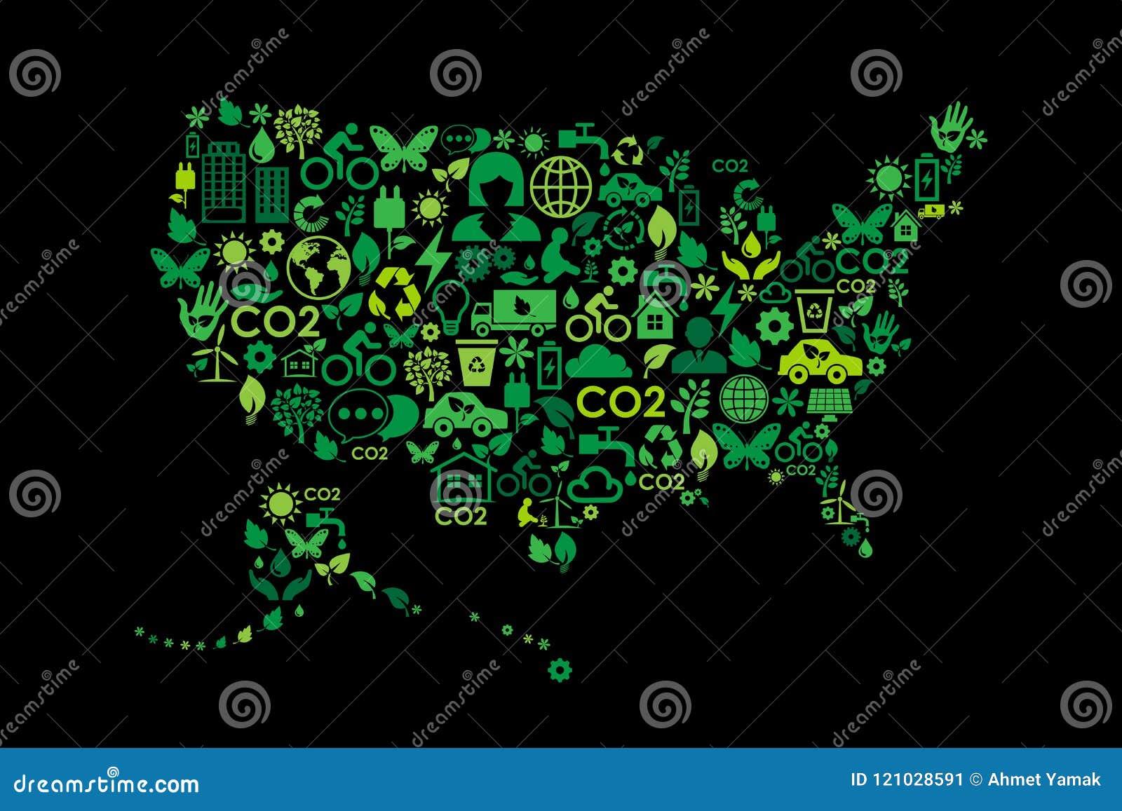 美国地图环境保护绿色概念象