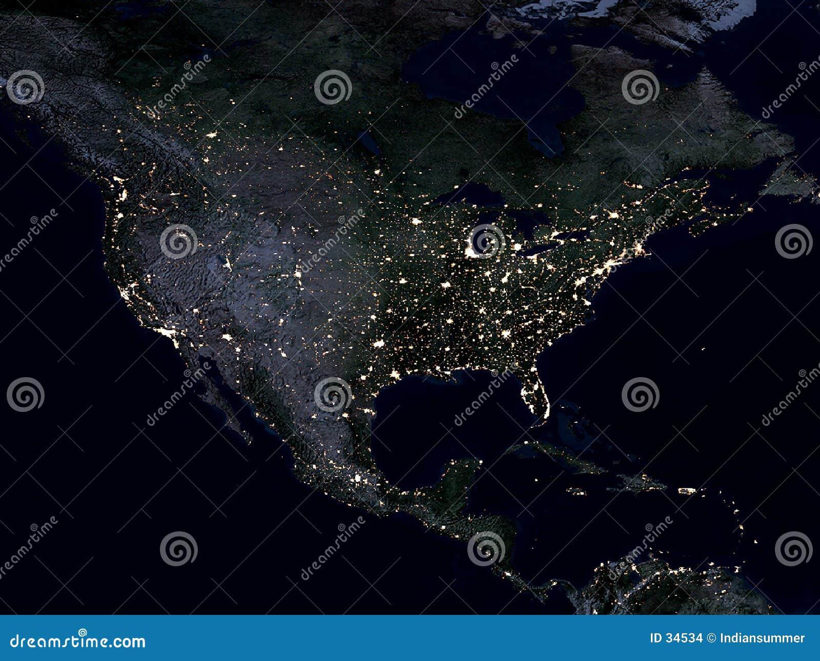 美国地球北部映射的晚上
