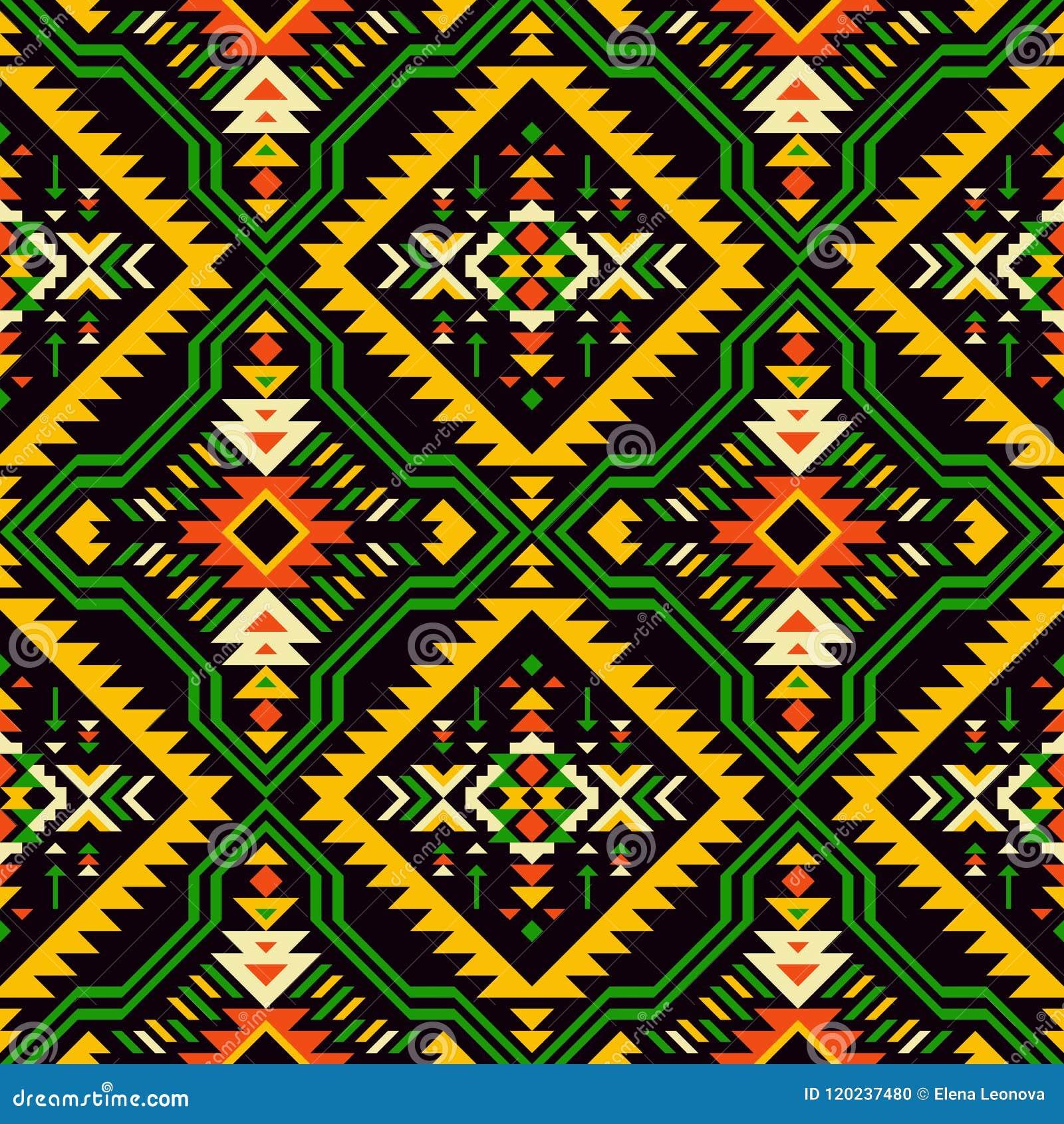美国本地人,印地安人,阿兹台克人,非洲人,几何无缝的patt