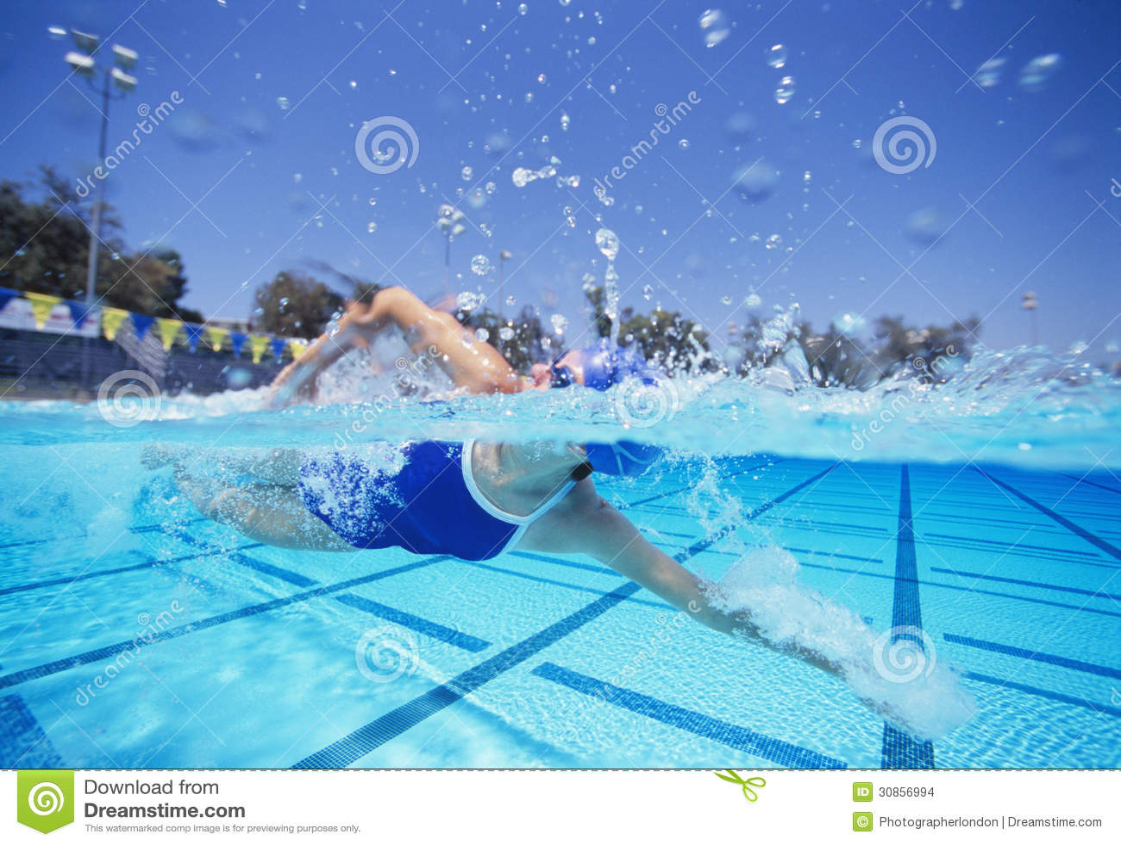 美国泳装游泳的女性游泳者在水池