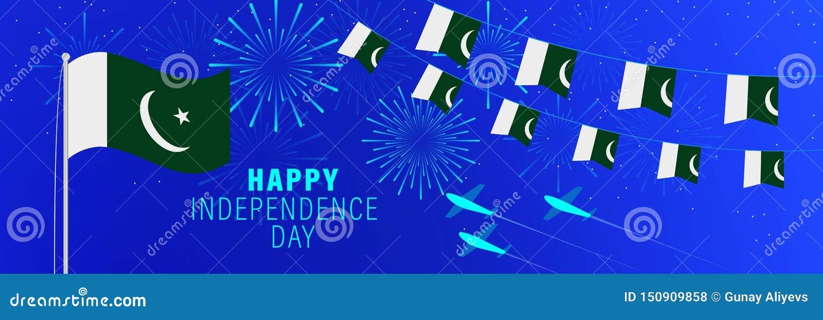 美国独立日8月14日巴基斯坦贺卡 与烟花、旗子、旗杆和文本的庆祝背景