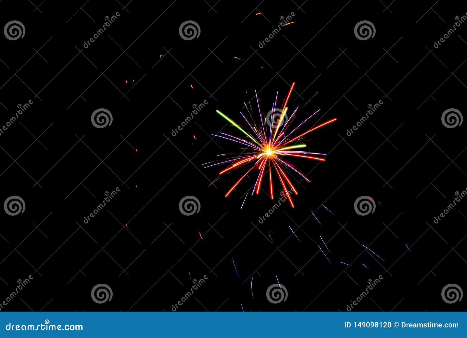 美国独立纪念日烟花在晚上