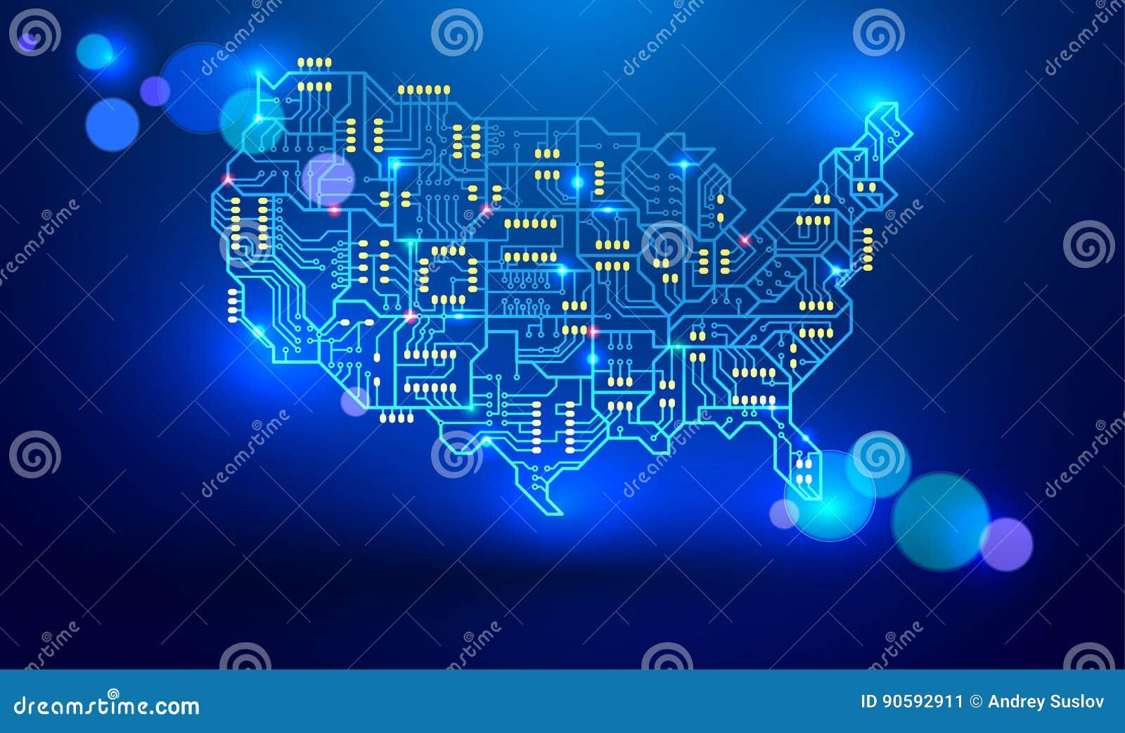 美国的地图作为电路板