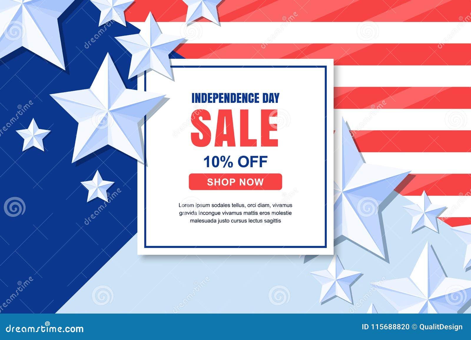 美国美国独立日销售传染媒介横幅模板 4 7月庆祝概念