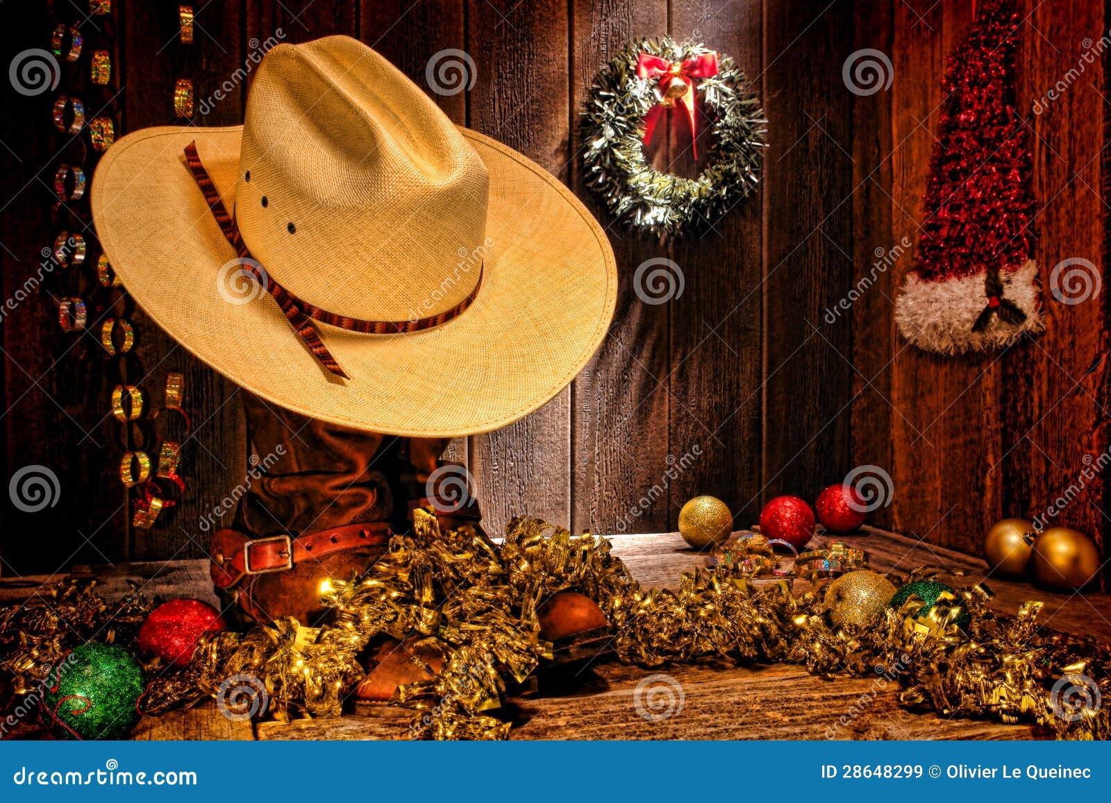 美国西方圈地牛仔帽圣诞卡