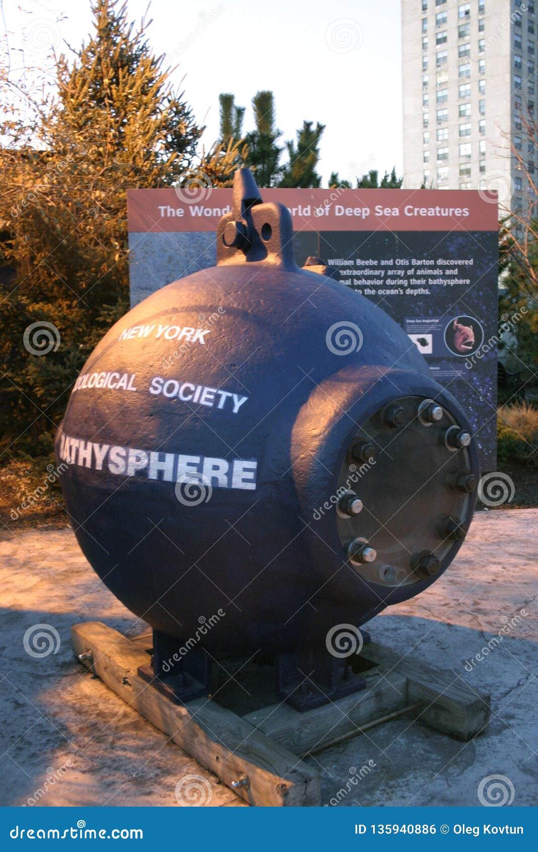 美国,纽约- 2009年11月25日:在Oceanarium的疆土的探测深海小潜艇的里雅斯特在纽约