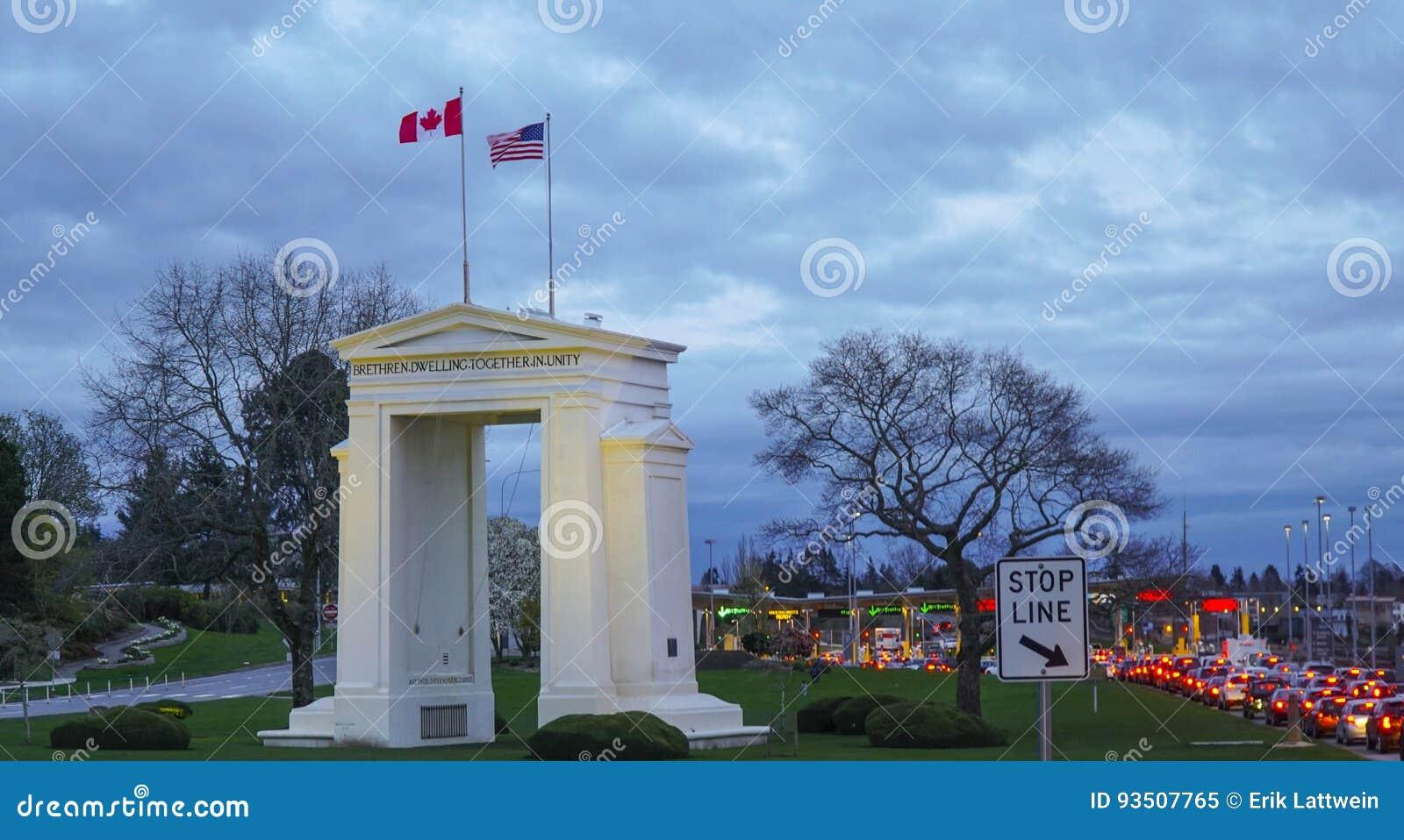 美国-在温哥华-加拿大附近的加拿大边界