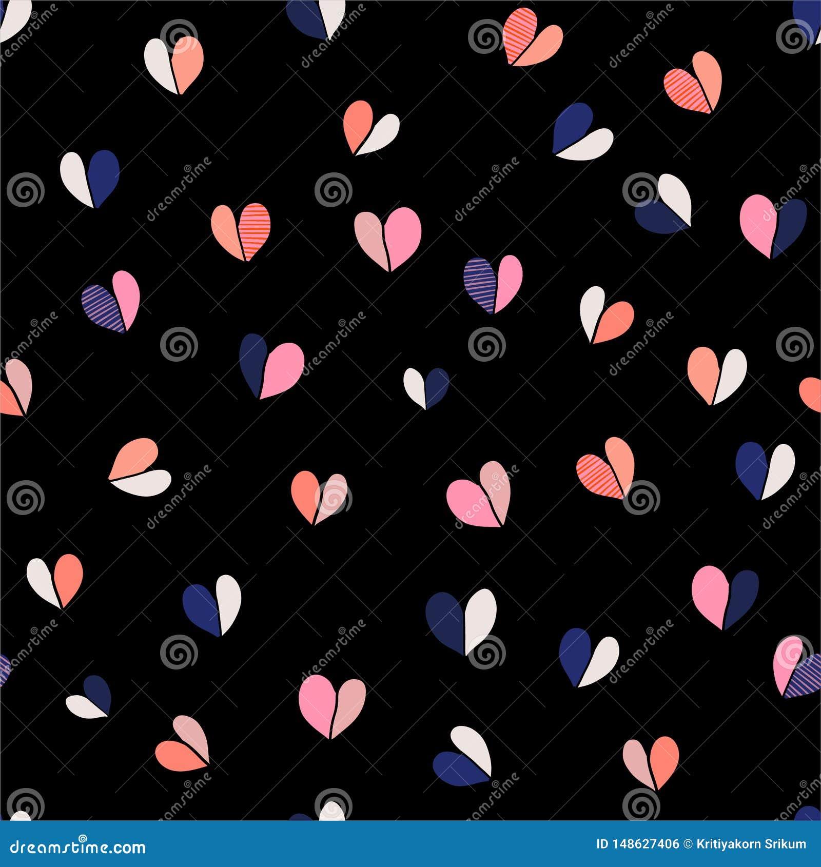 美好的五颜六色和逗人喜爱的传染媒介例证手拉的心脏导航无缝的样式例证 时尚的,织品设计