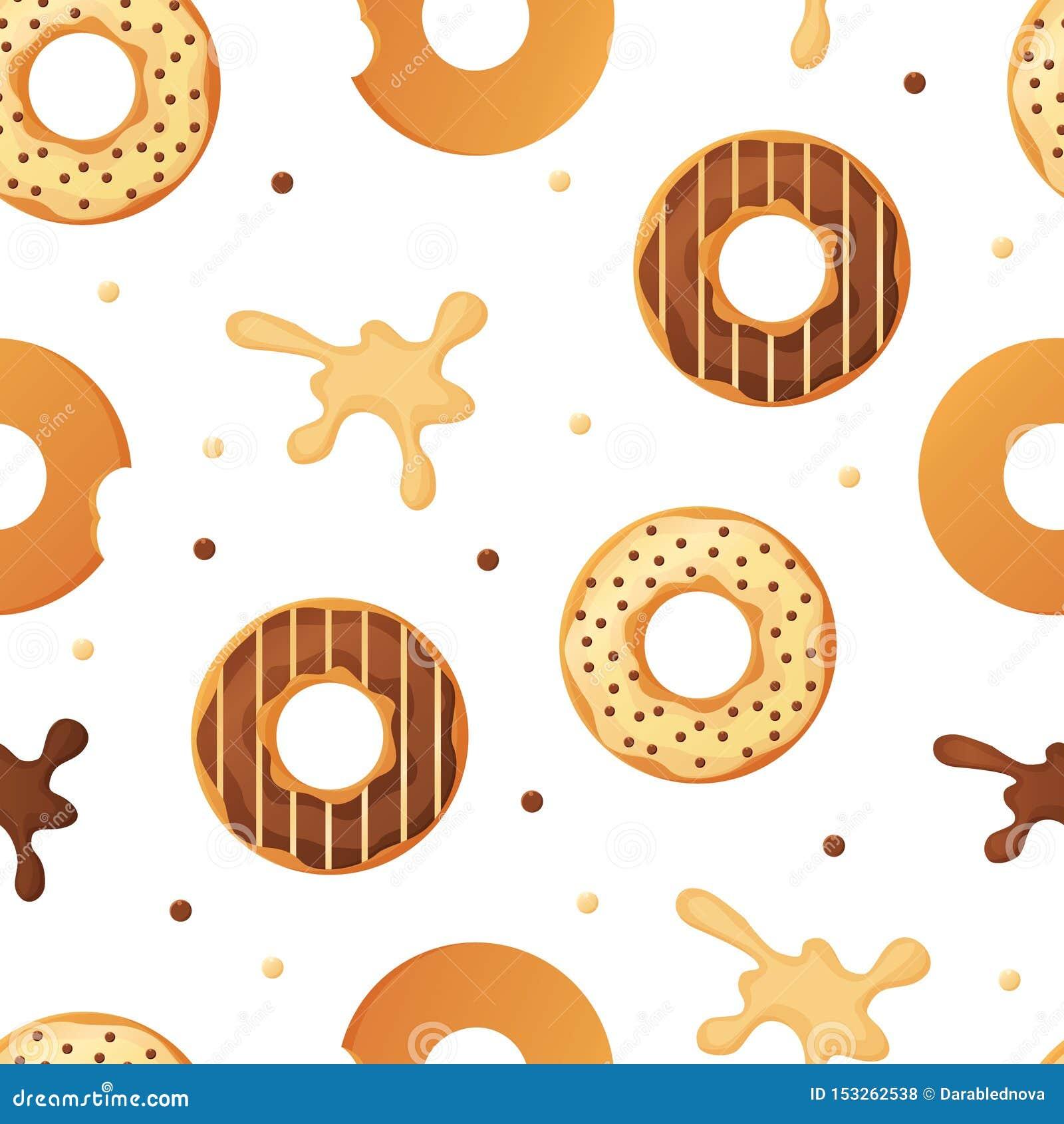 美好的五颜六色的被烘烤的给上釉的油炸圈饼或多福饼无缝的样式与洒并且飞溅